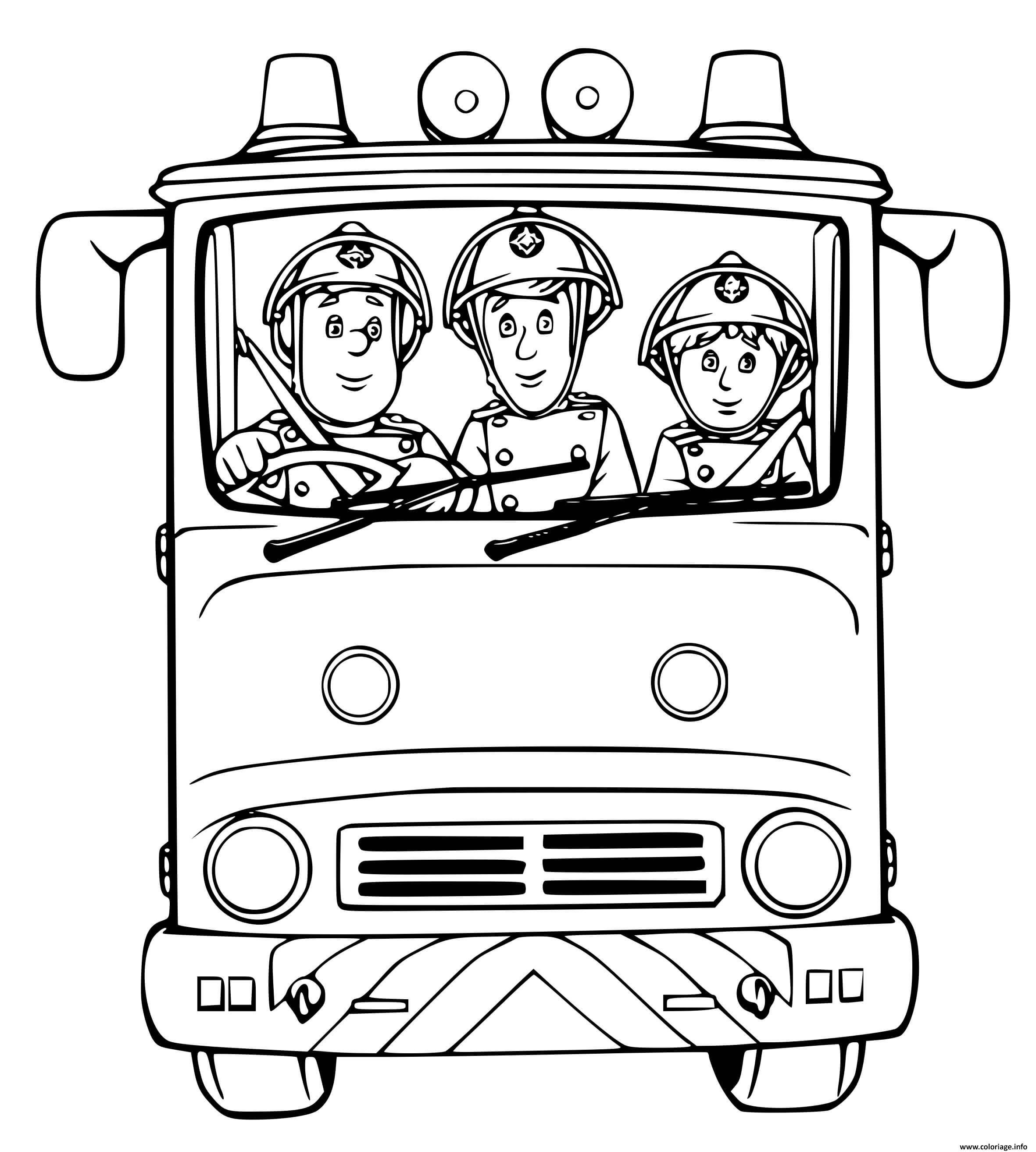 Coloriage Camion De Pompier Avec Trois Pompiers Pret A ...