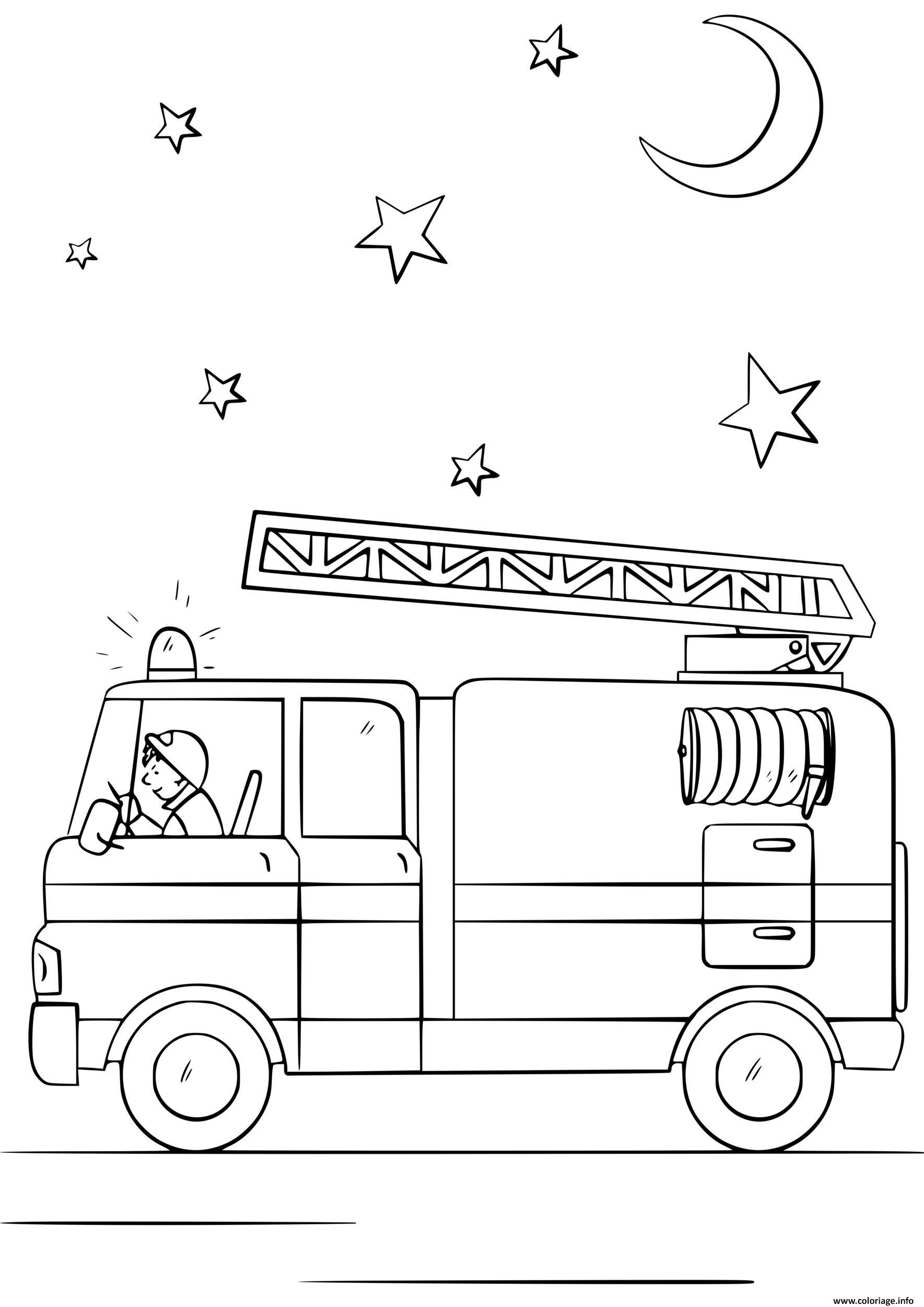 Dessin camion de pompier en action durant la nuit sous les etoiles et la lune Coloriage Gratuit à Imprimer