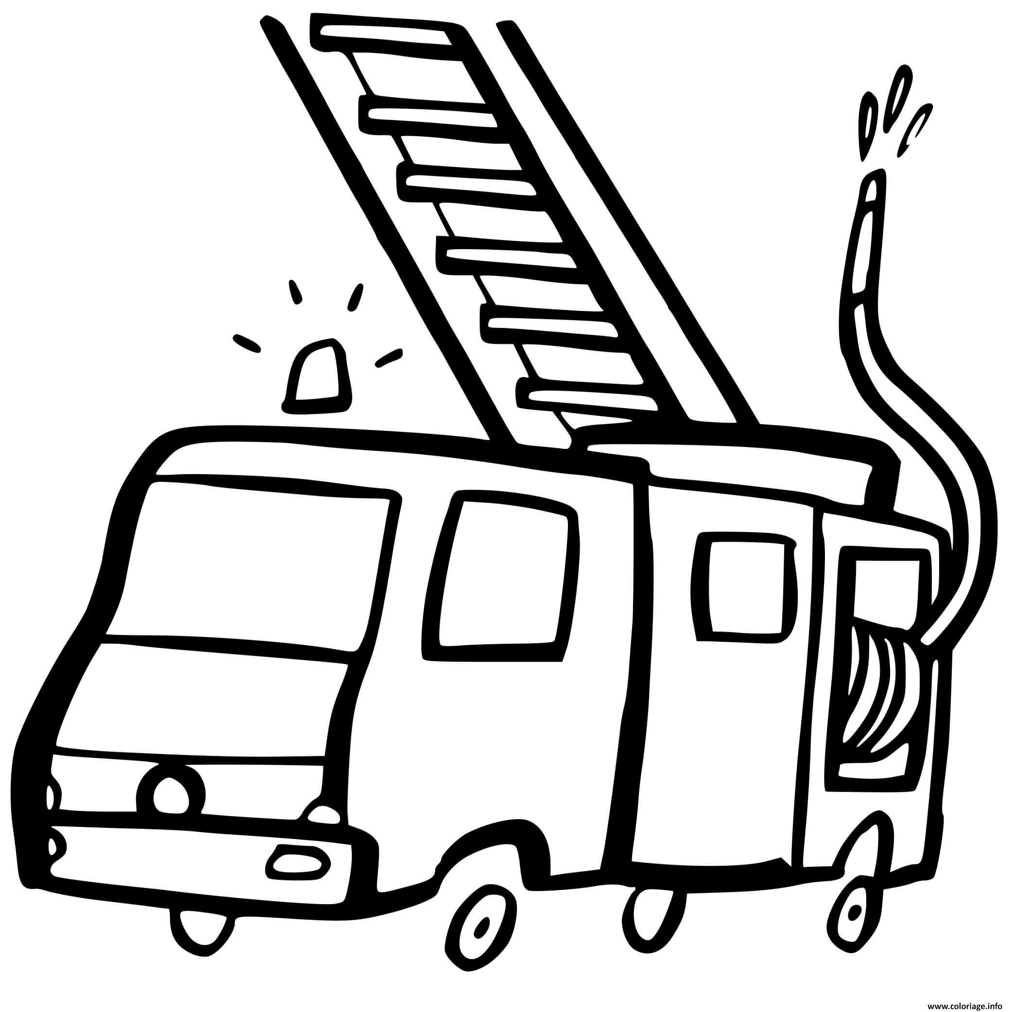 Dessin transport camion de pompier facile Coloriage Gratuit à Imprimer