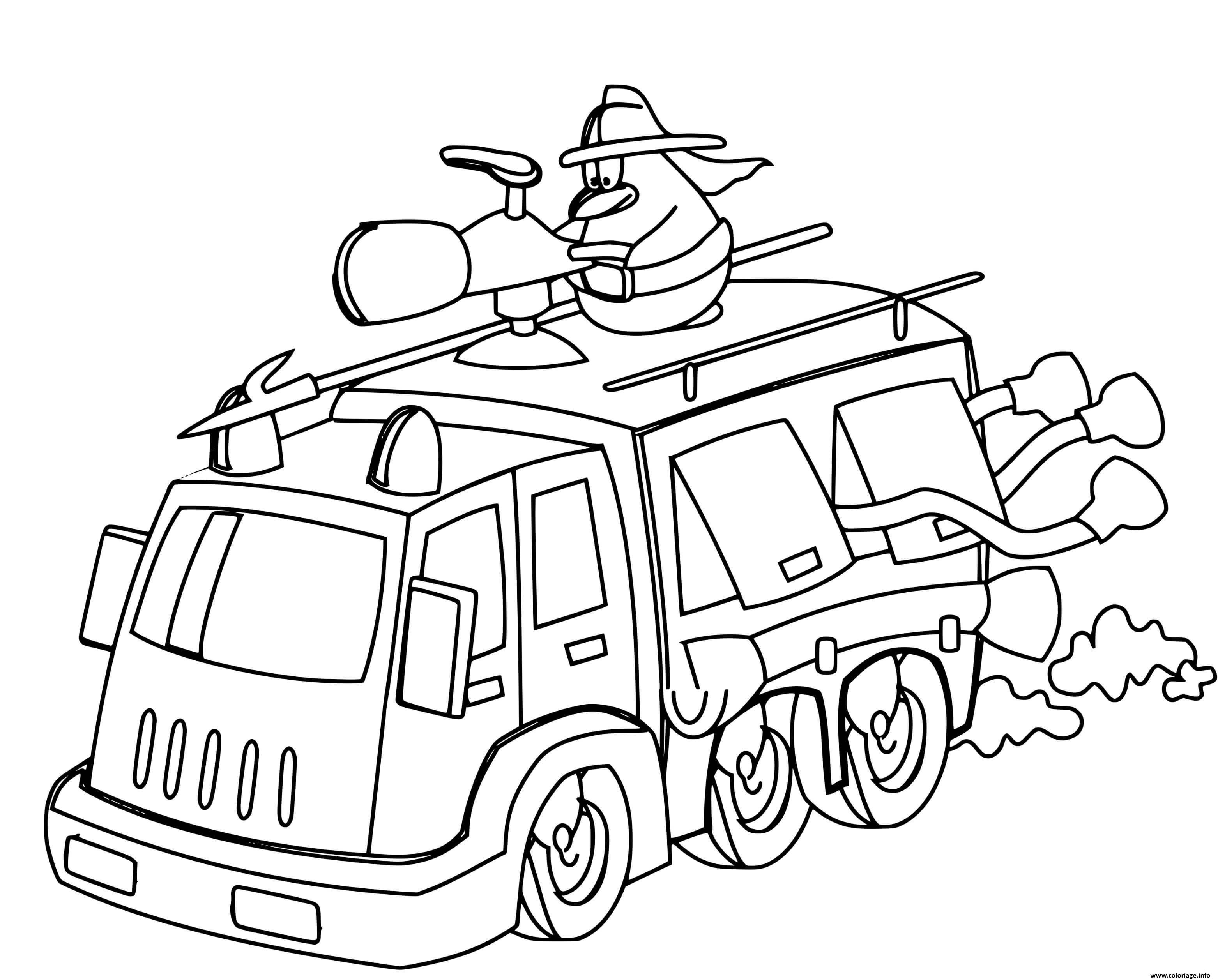 Dessin un dessin anime sur un camion de pompier a pleine vitesse Coloriage Gratuit à Imprimer