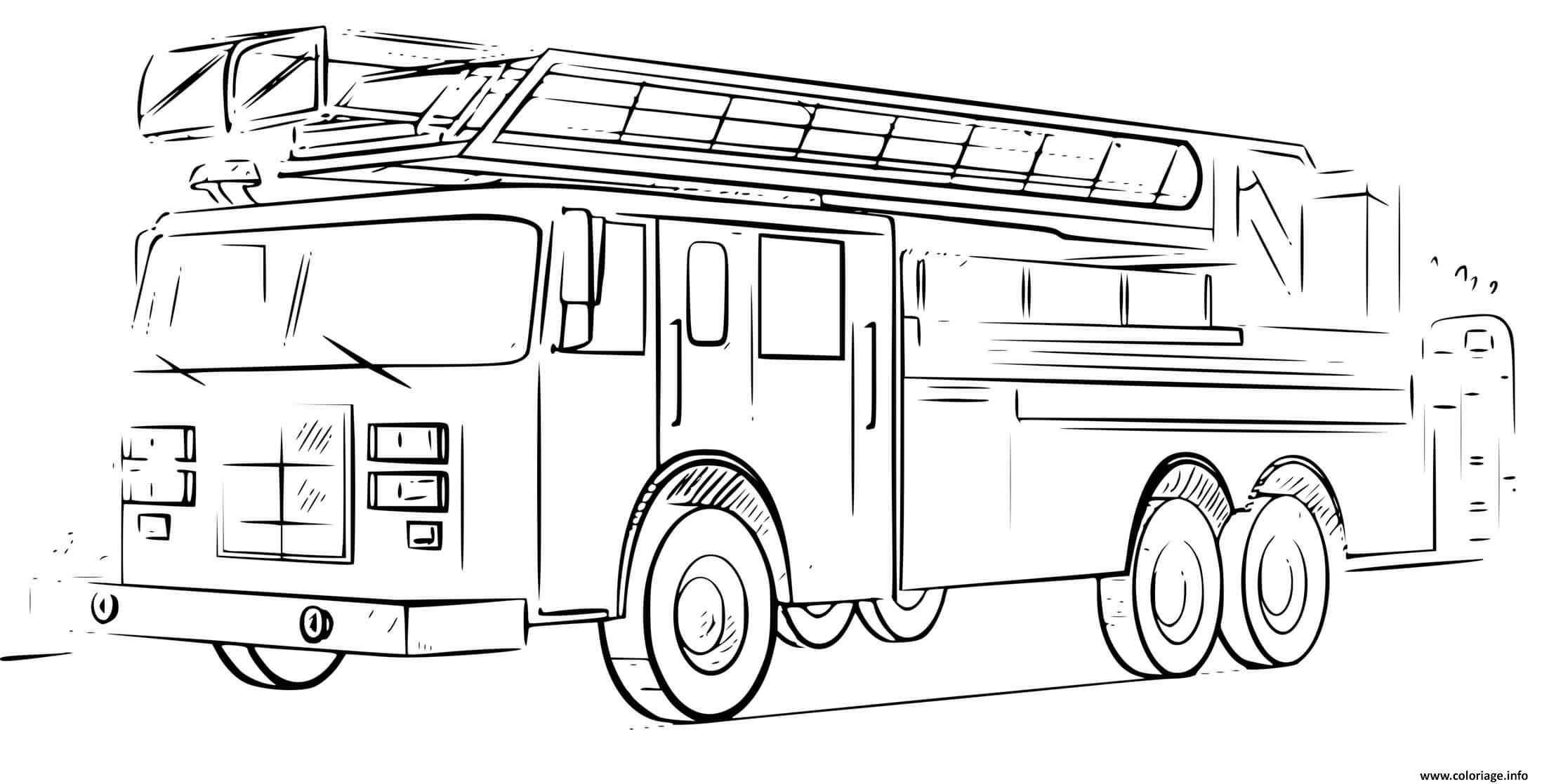 Dessin veritable camion de pompier dessin realiste Coloriage Gratuit à Imprimer