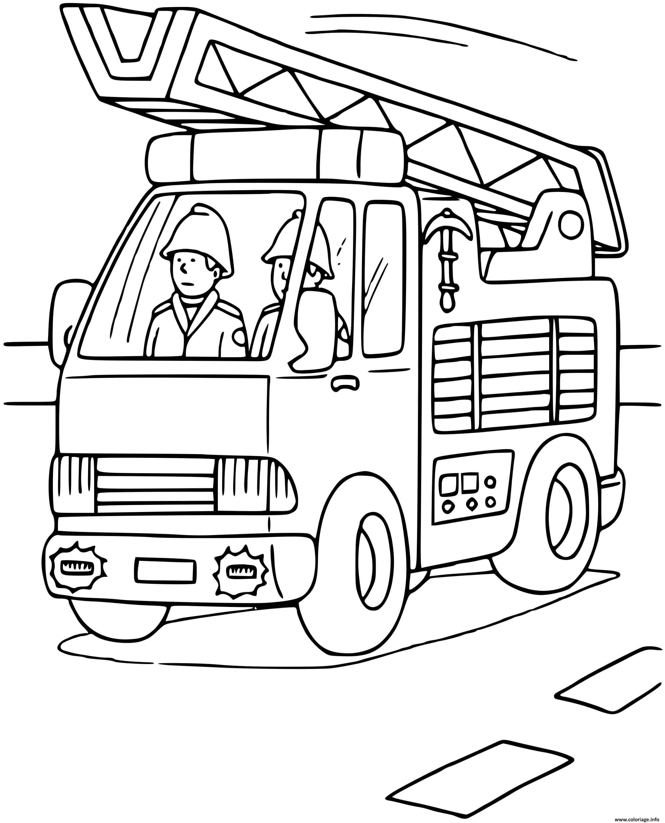 Dessin camion des pompiers avec echelle Coloriage Gratuit à Imprimer