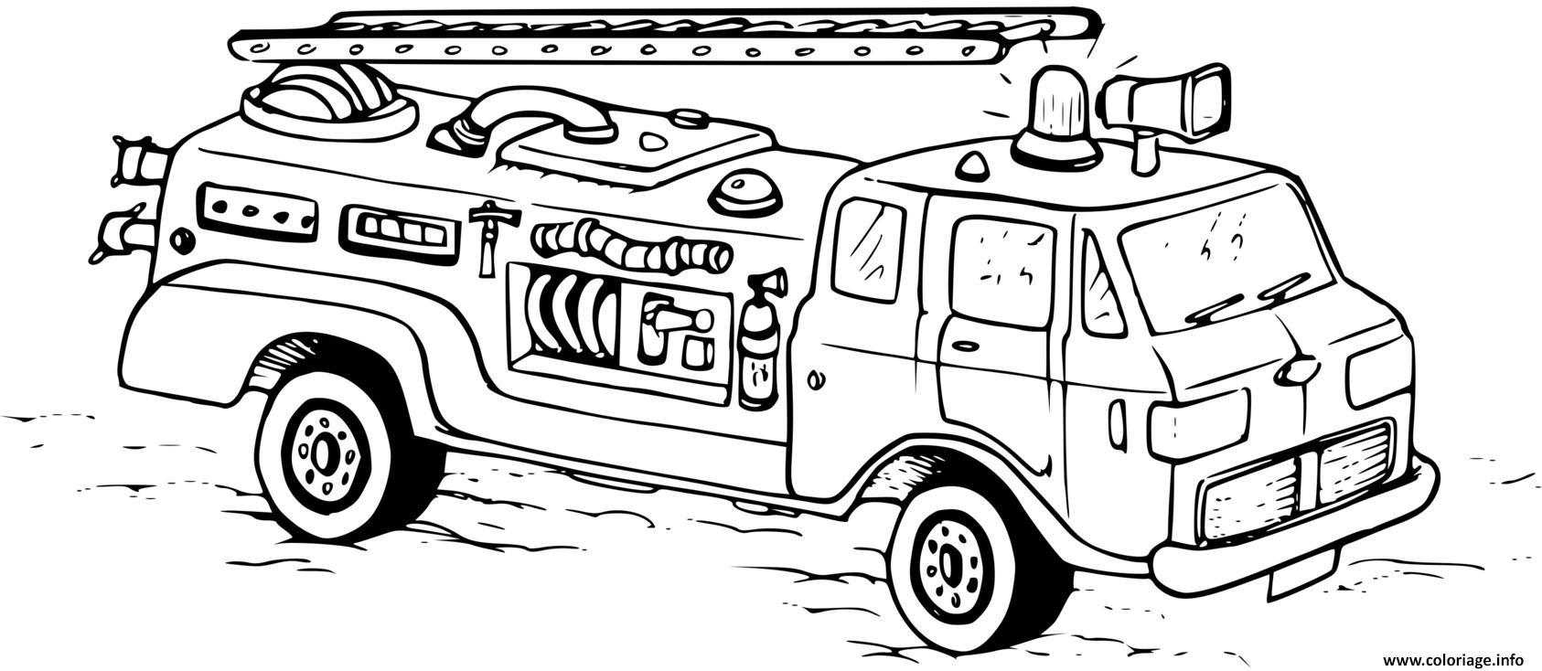Dessin camion pompiers Coloriage Gratuit à Imprimer