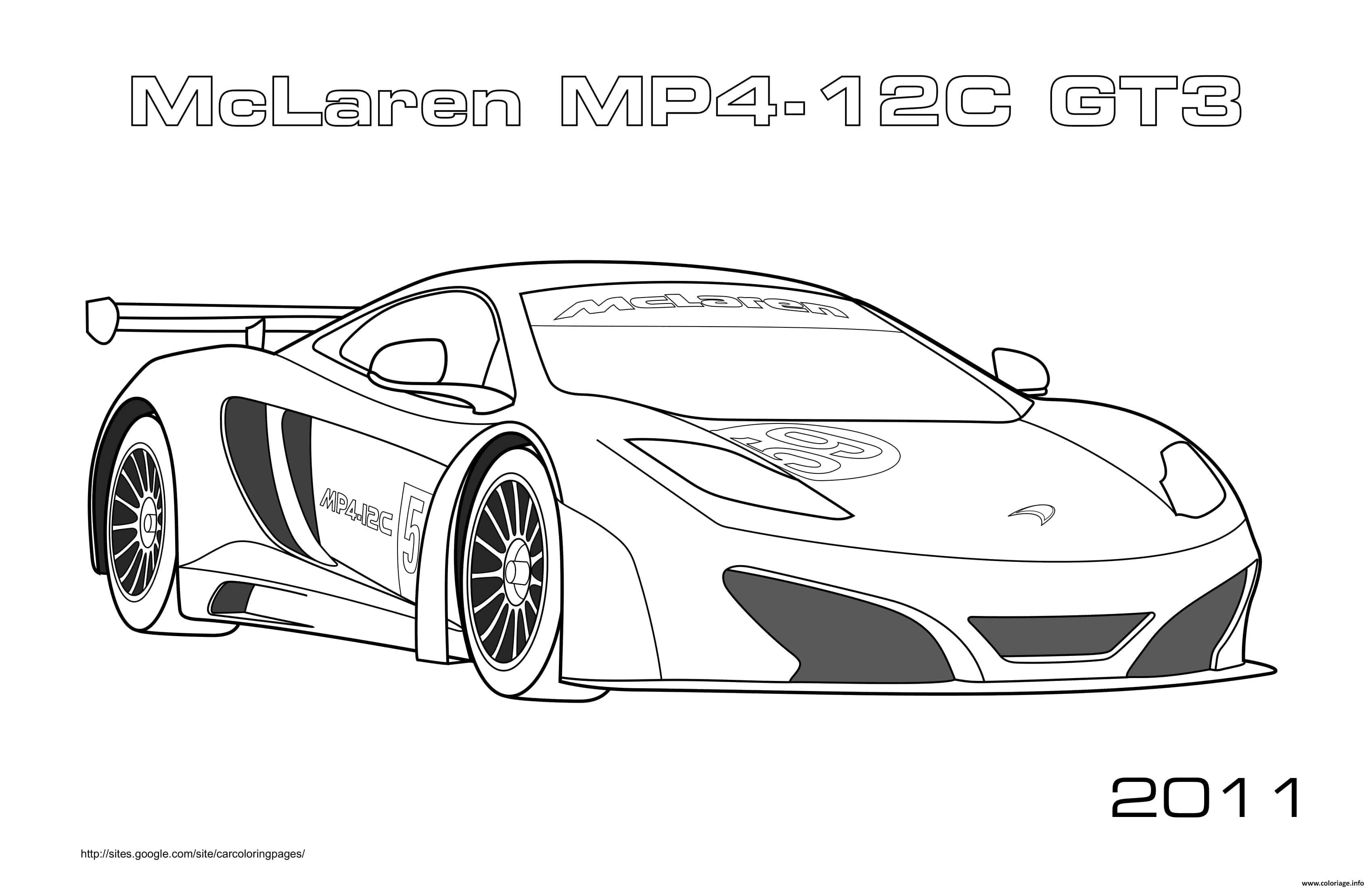 Dessin Mclaren Mp4 12c Gt3 2011 Coloriage Gratuit à Imprimer