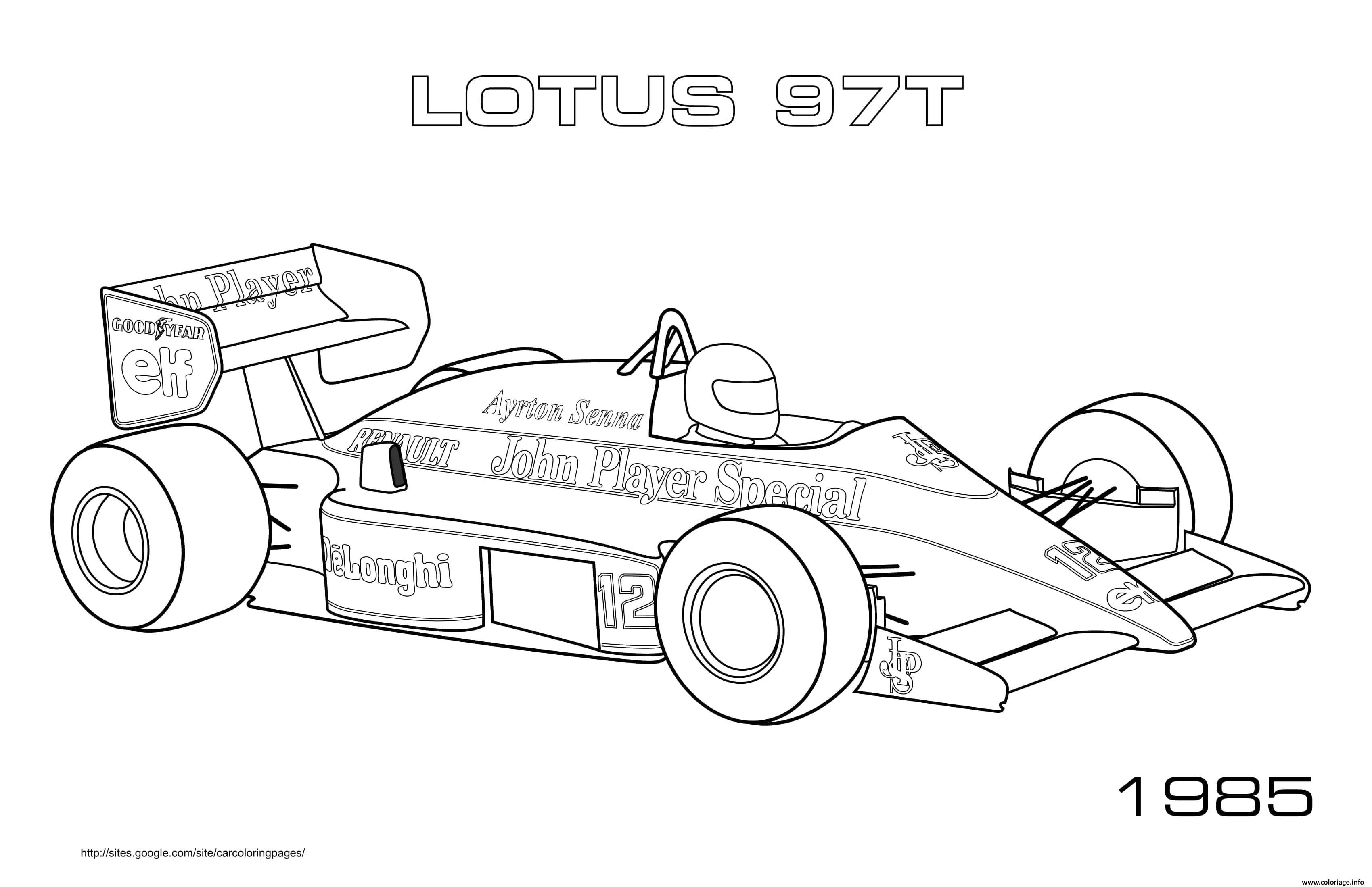 Dessin Sport F1 Lotus 97t 1985 Coloriage Gratuit à Imprimer