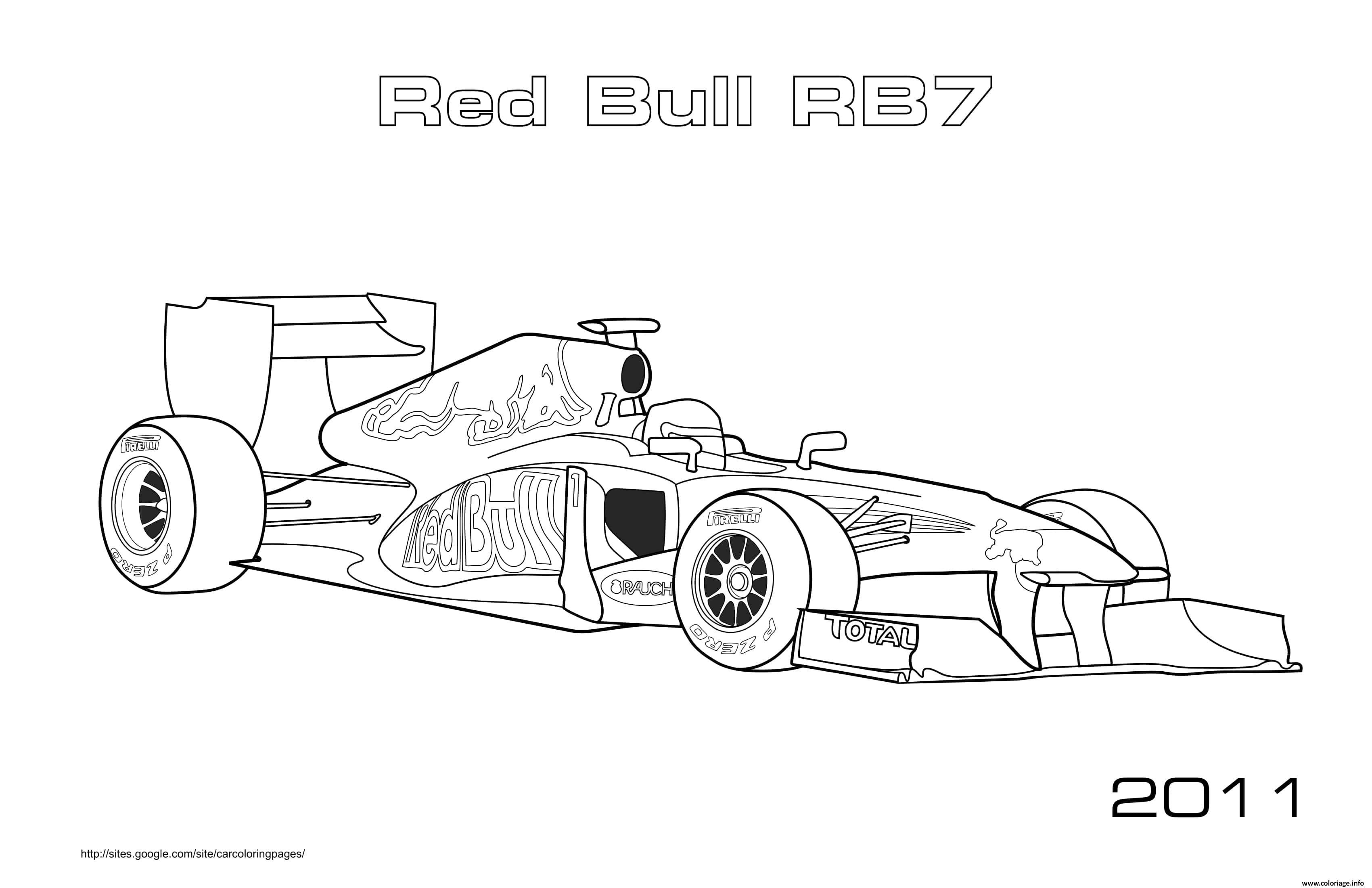 Dessin Sport F1 Red Bull Rb6 2011 Coloriage Gratuit à Imprimer