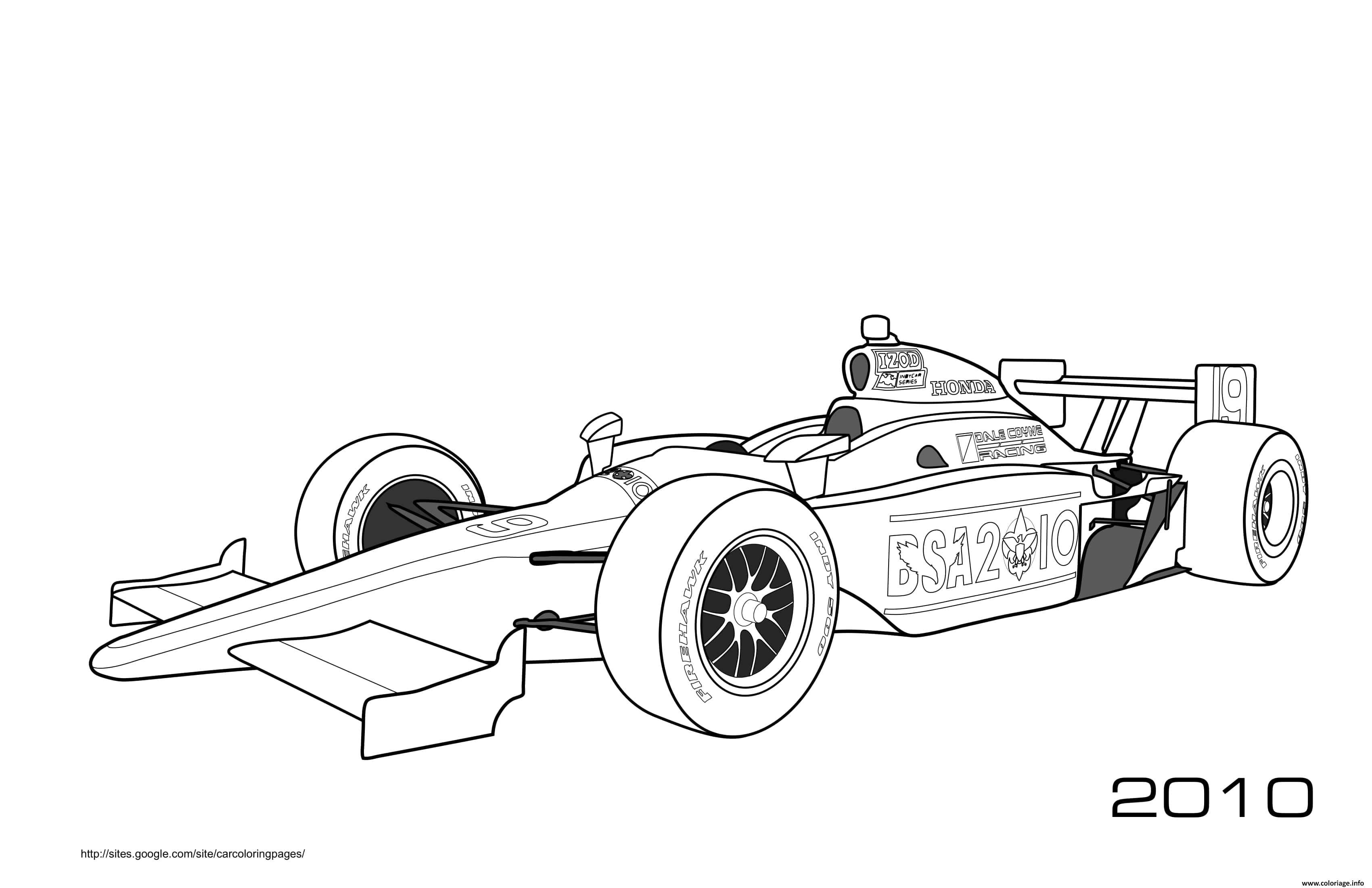 Dessin Sport F1 Honda Firehawk Izod Coloriage Gratuit à Imprimer