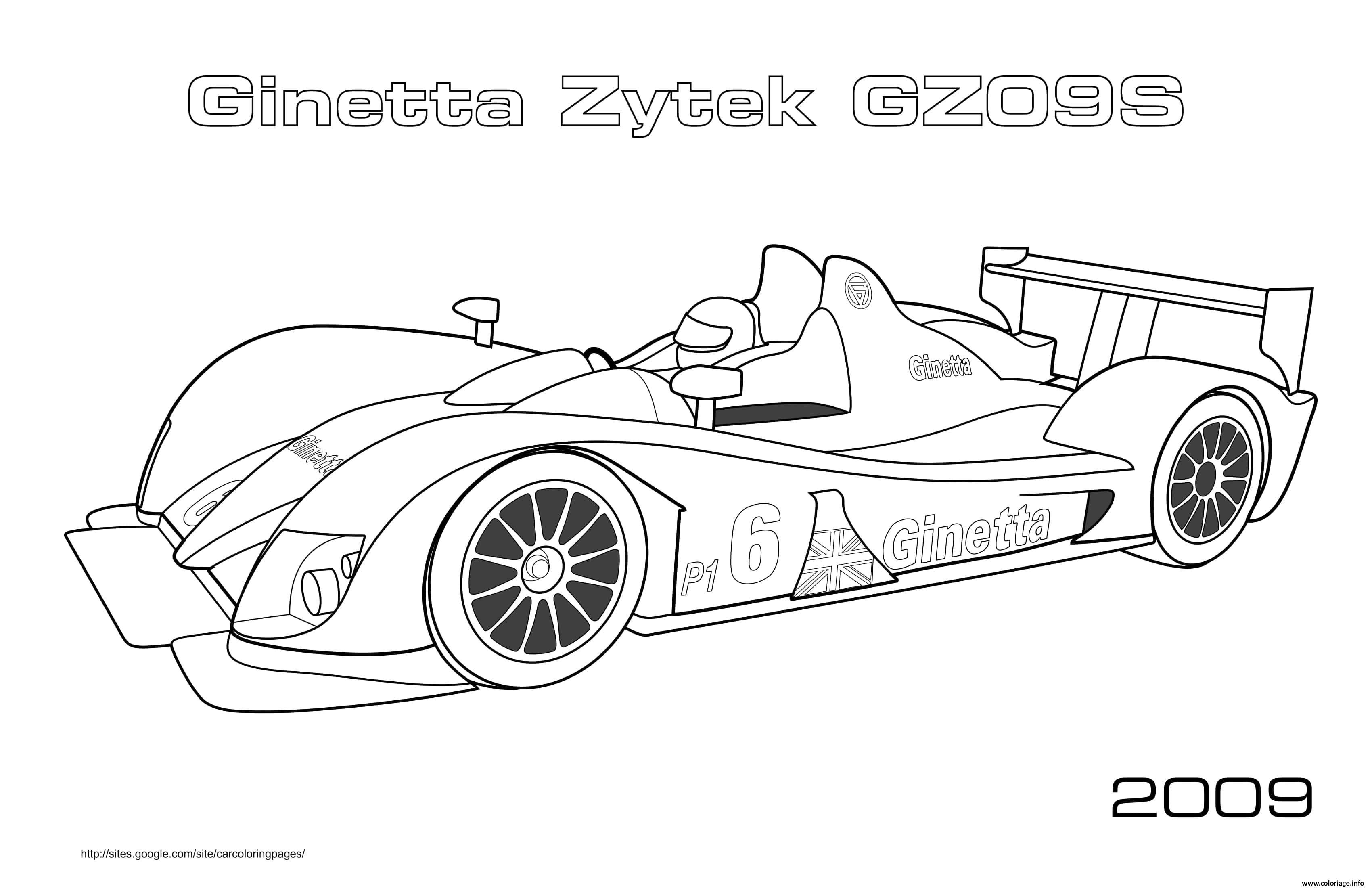 Dessin Sport F1 Ginetta Zytek Gz09s 2009 Coloriage Gratuit à Imprimer