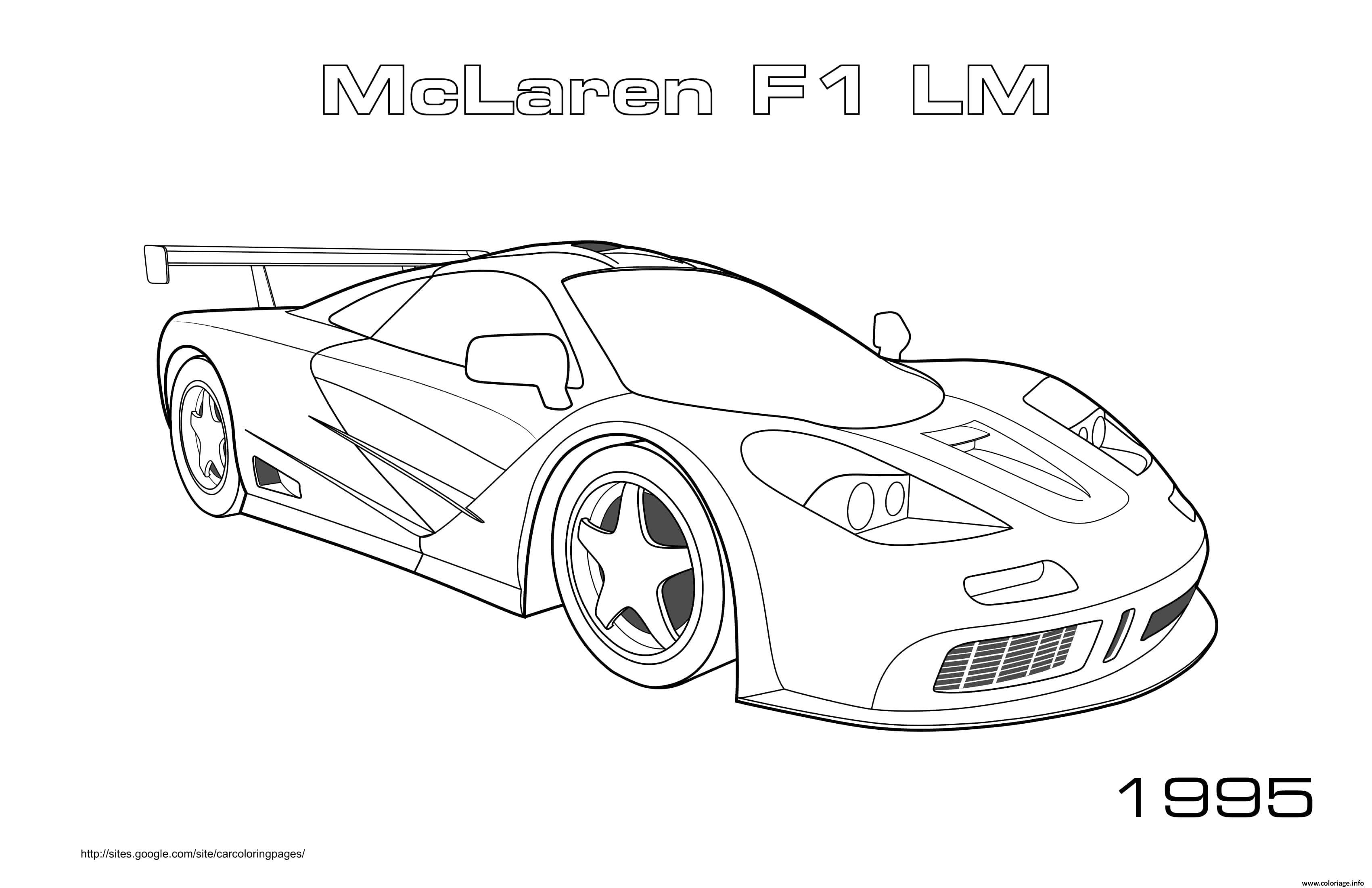 Dessin Mclaren Sport F1 Lm 1995 Coloriage Gratuit à Imprimer