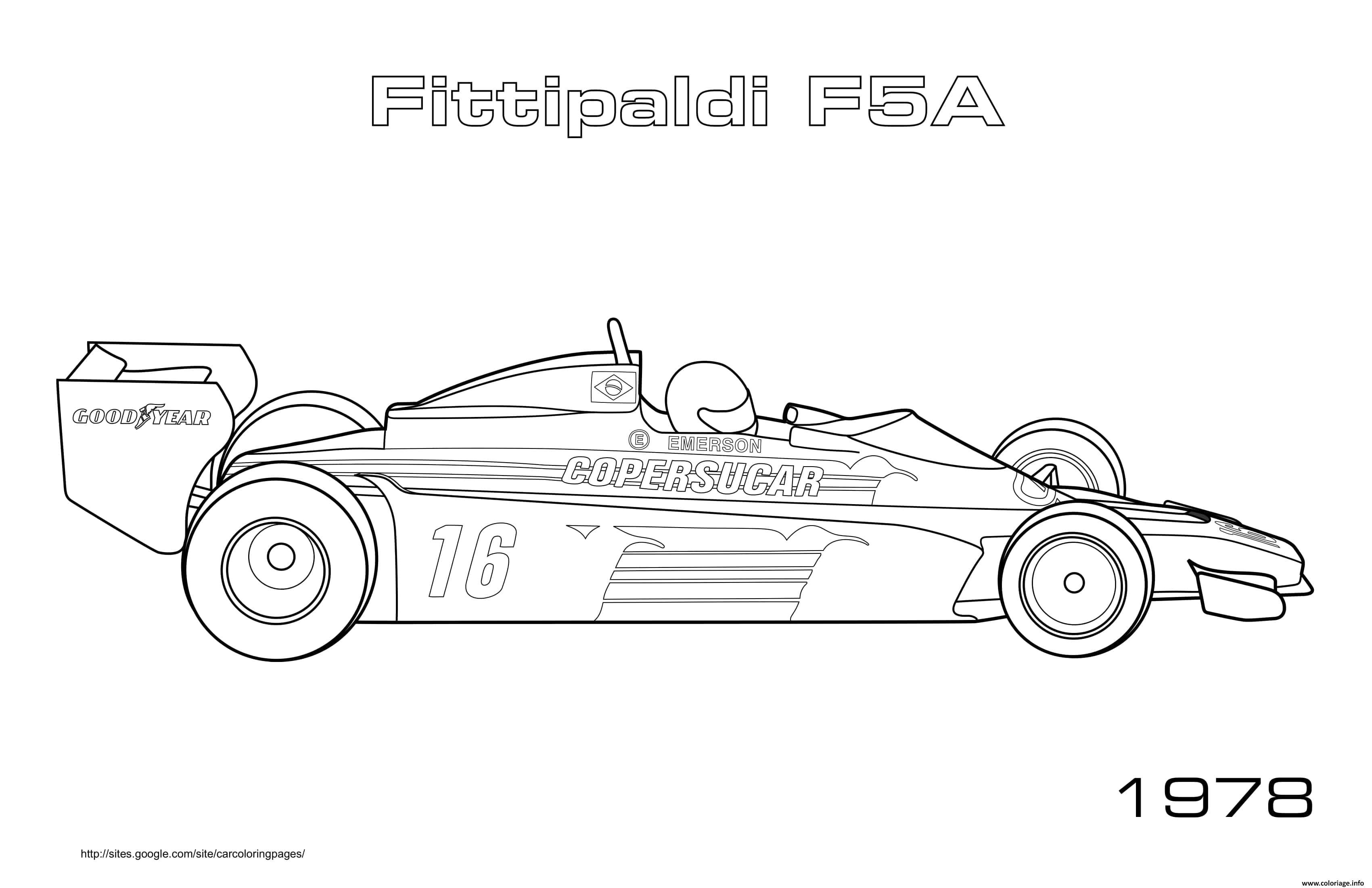 Dessin Sport F1 Fittipaldi F5a 1978 Coloriage Gratuit à Imprimer