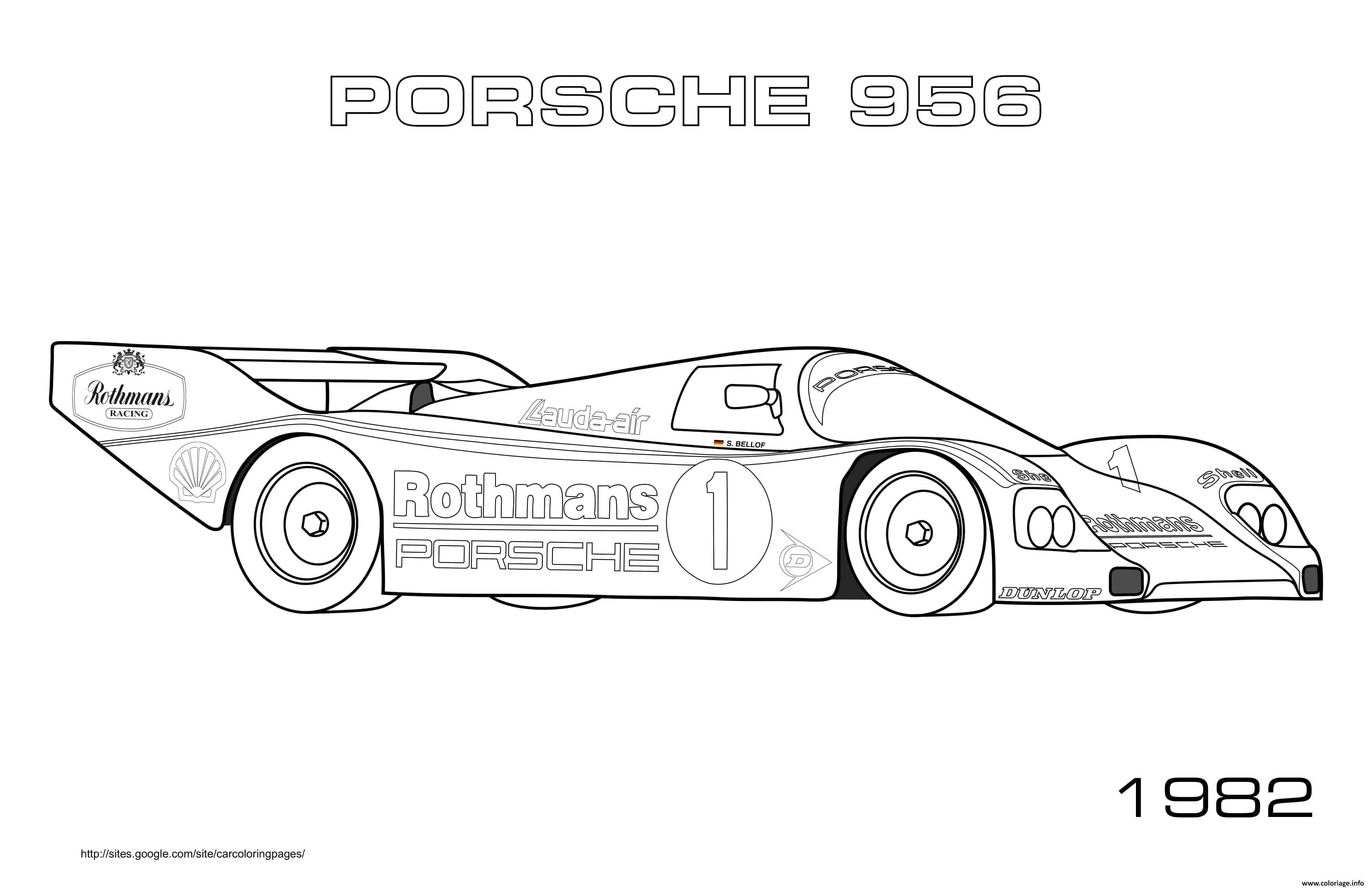Dessin Porsche 956 1982 Coloriage Gratuit à Imprimer