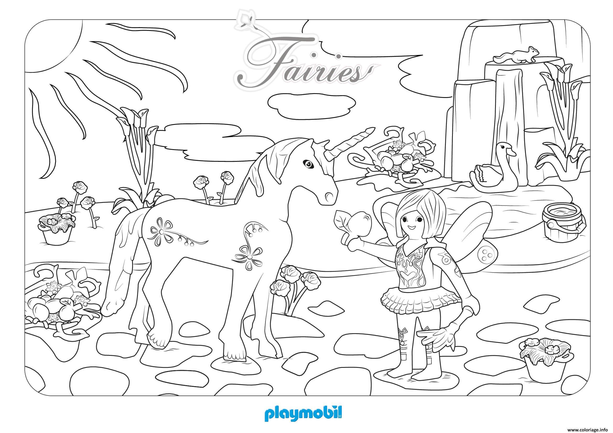 Coloriage playmobil fee et licorne - JeColorie.com