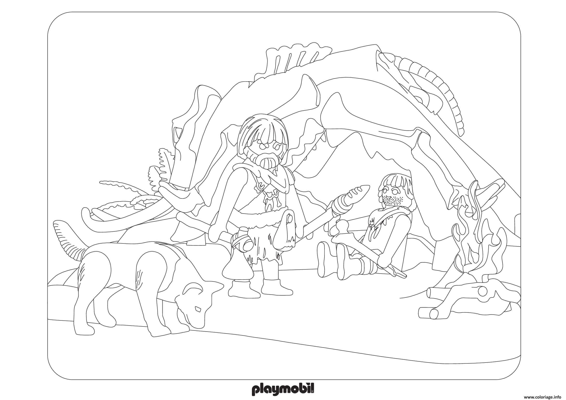 Coloriage Playmobil La Prehistoire Dessin Playmobil A Imprimer