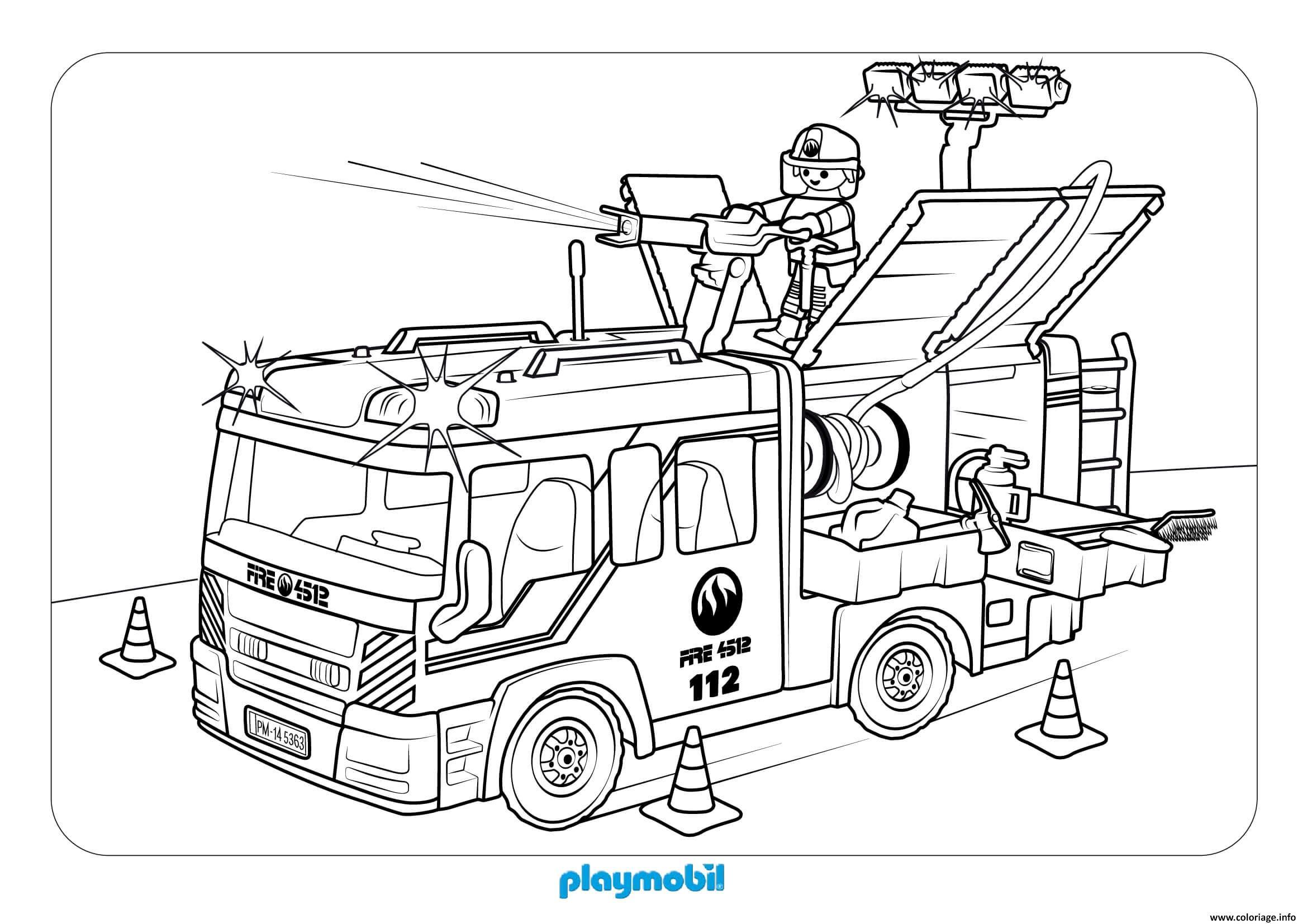 Coloriage camion de pompier playmobil - JeColorie.com