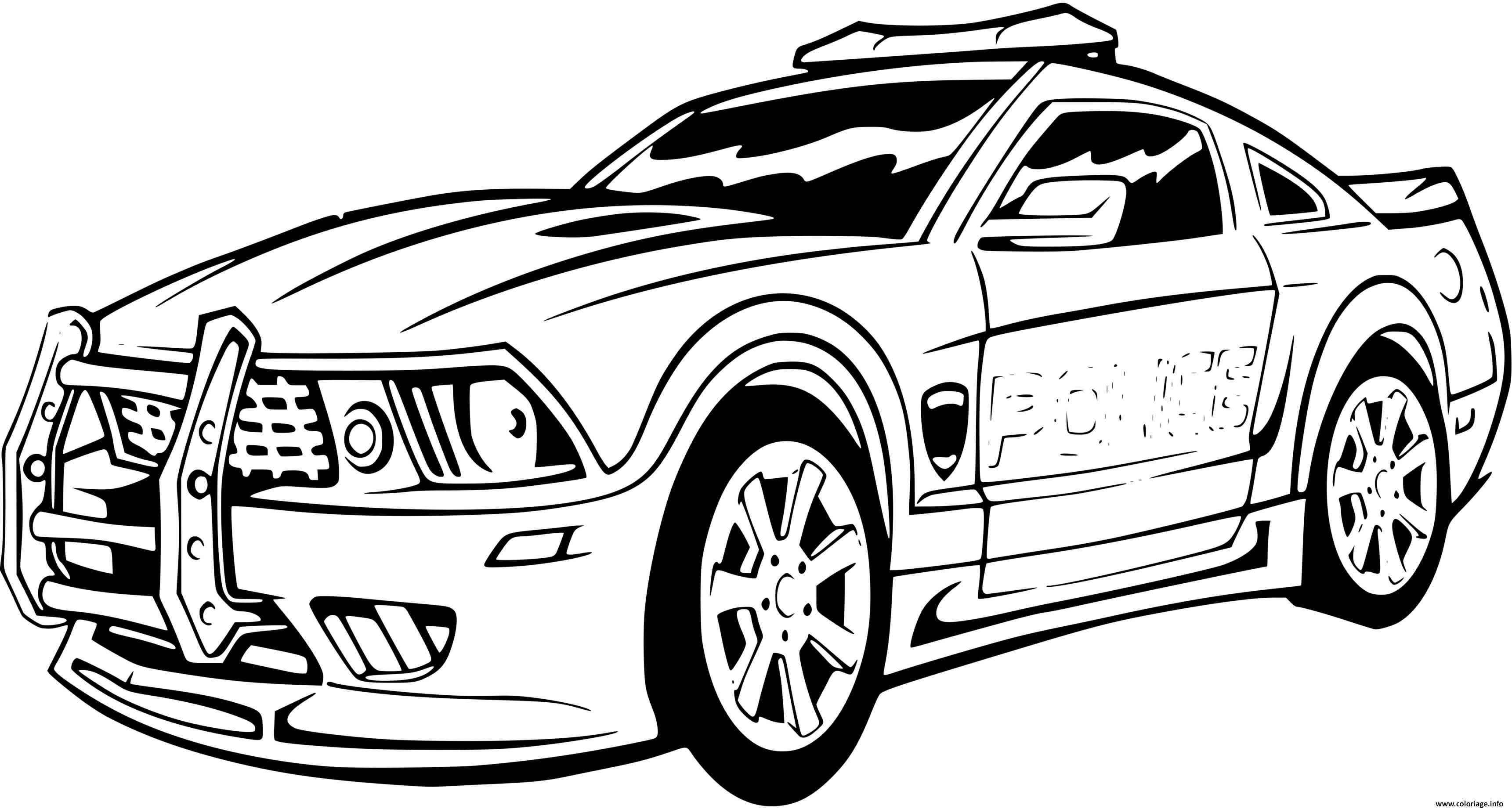 Coloriage Voiture De Police Sport Mustang Ford Jecolorie Com
