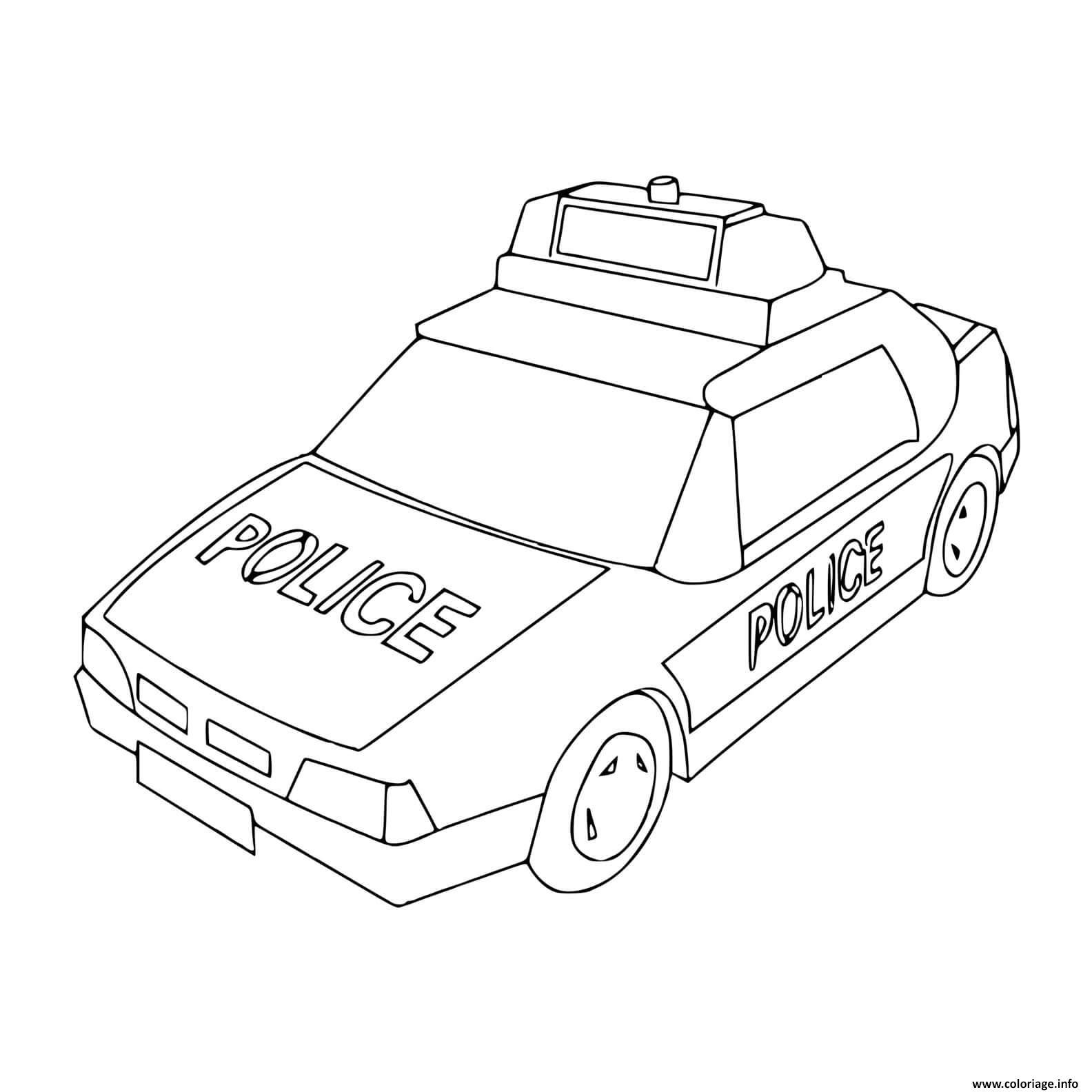 Coloriage Vehicule De Police Avec Gyrophare Dessin Voiture De Police A Imprimer