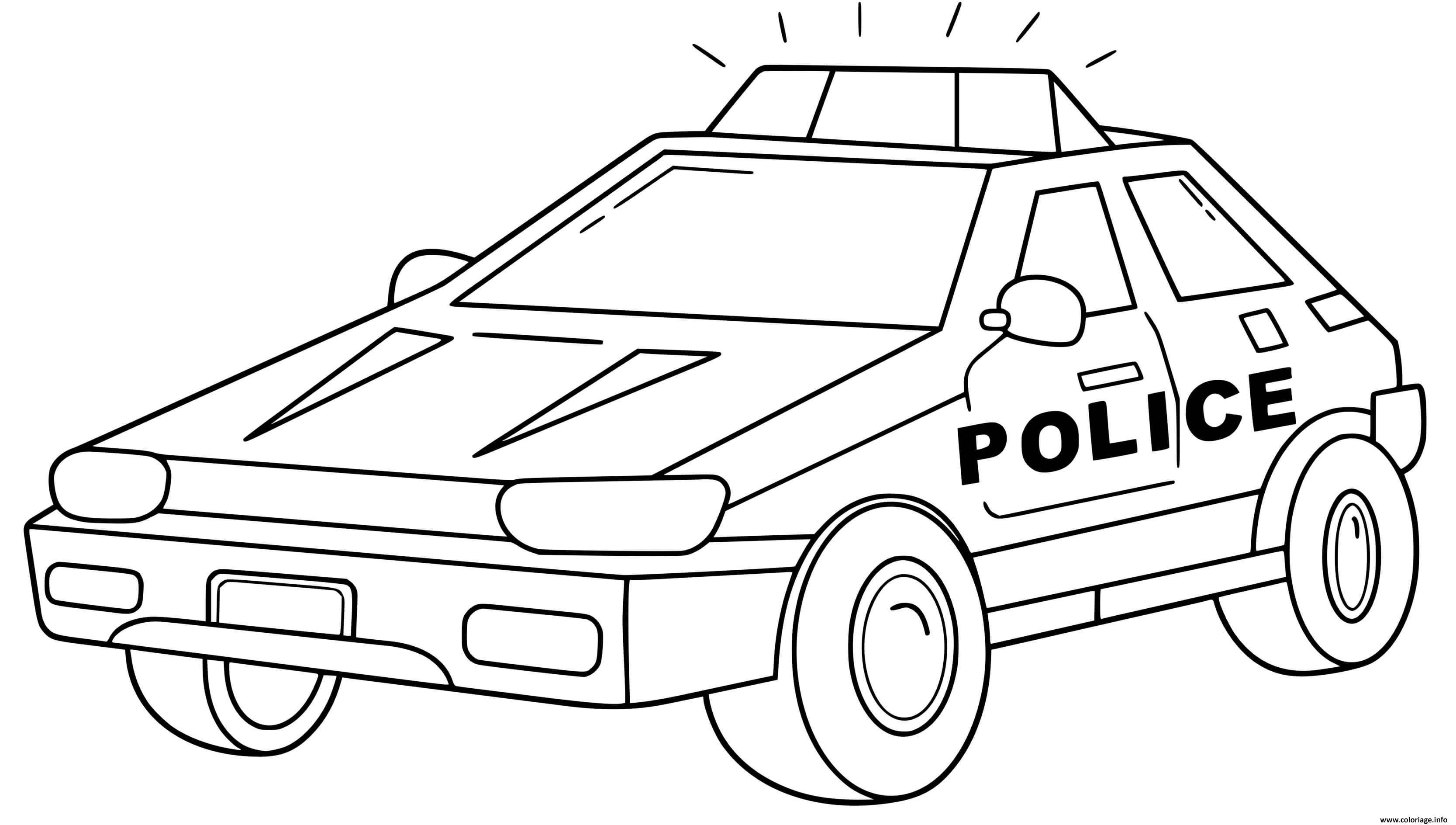Coloriage Transport Voiture De Police Style Carre Dessin Voiture De Police A Imprimer