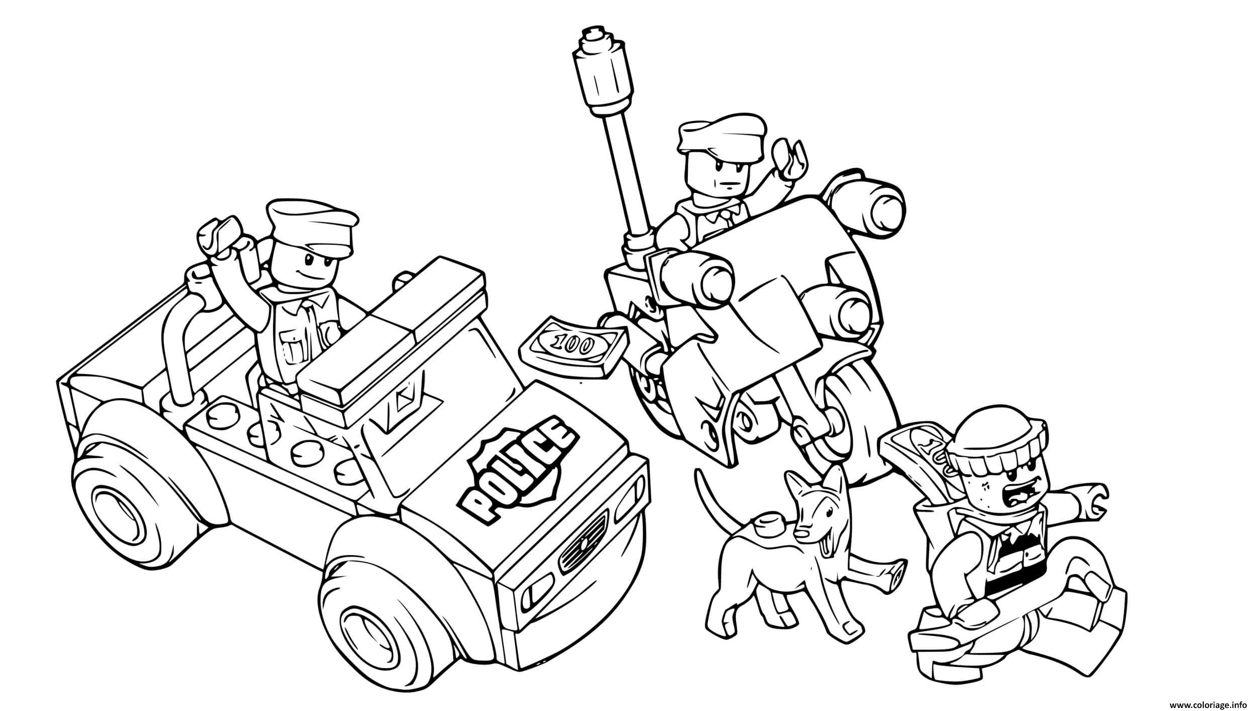 Coloriage Police Lego Moto Voiture 4x4 Chien Policier Jecolorie Com