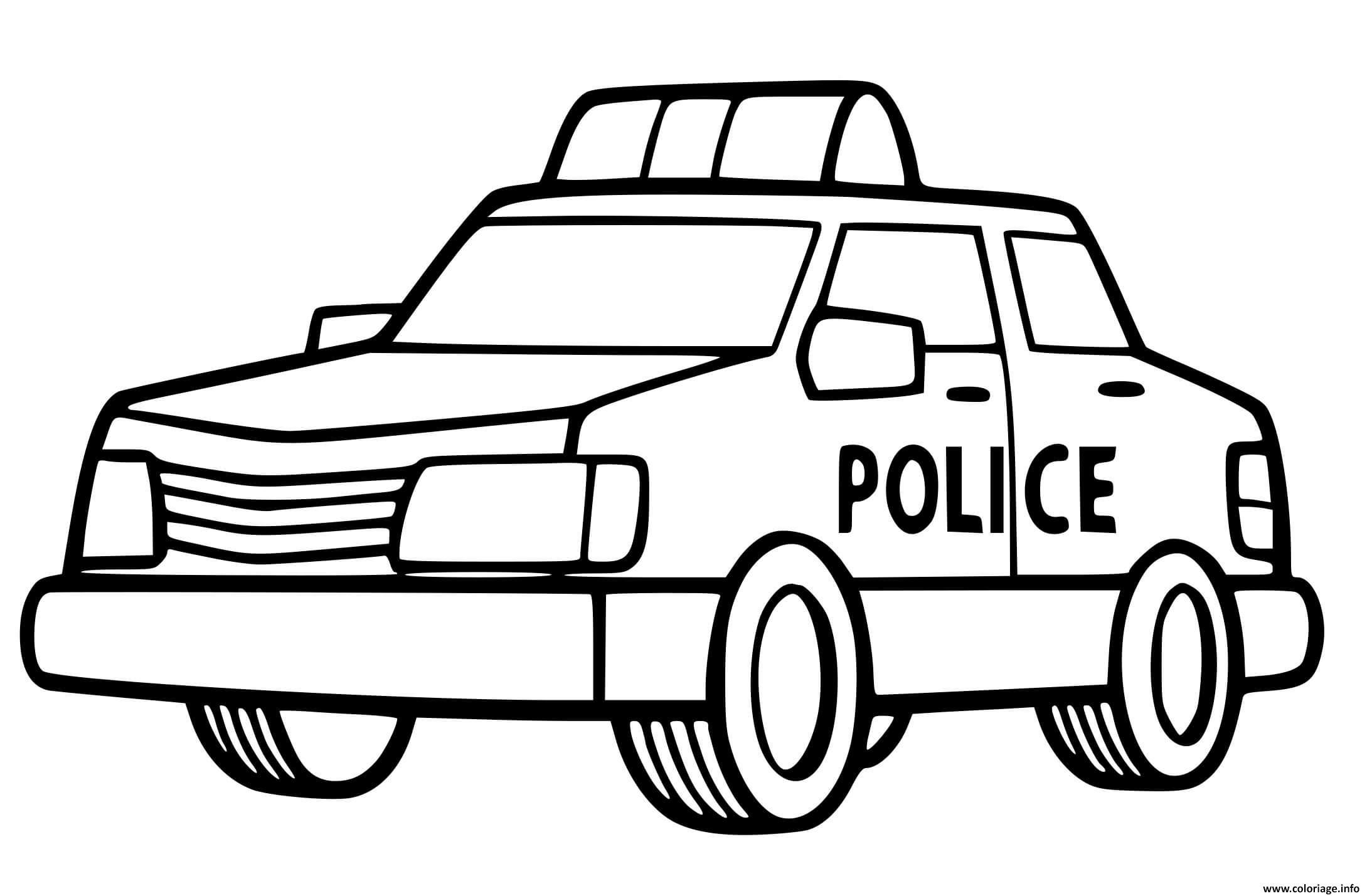 Coloriage Une Voiture De Police Facile Pour Maternelle ...