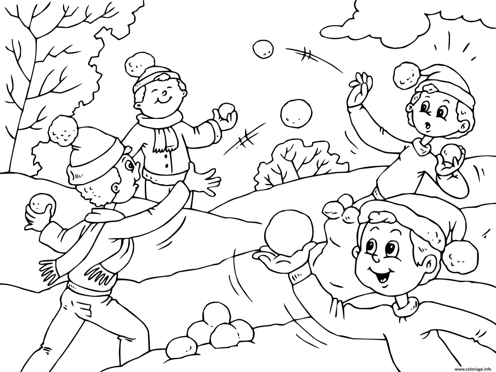 Dessin les enfants jouent a la bataille de neige en hiver Coloriage Gratuit à Imprimer