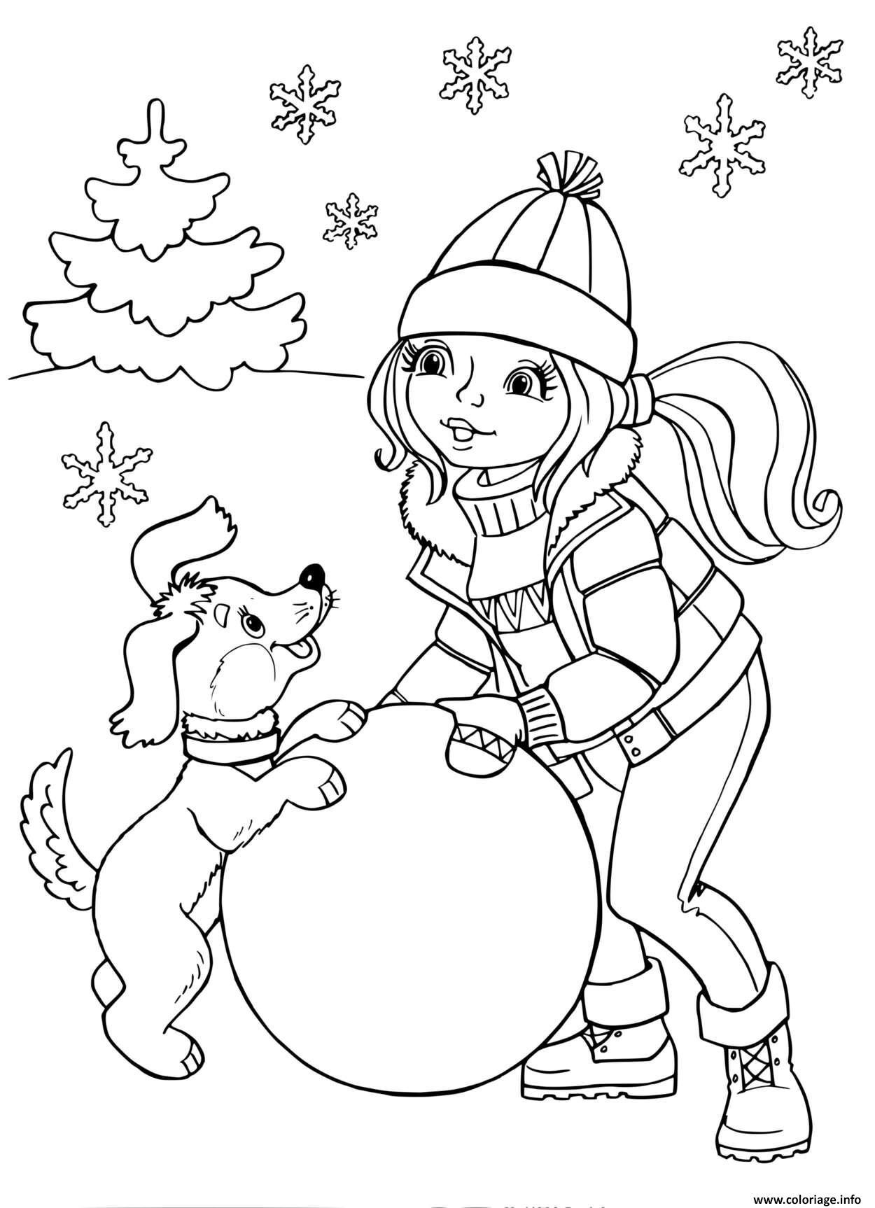 Dessin Fille avec un chiot sculpte un grand globe de neige Coloriage Gratuit à Imprimer