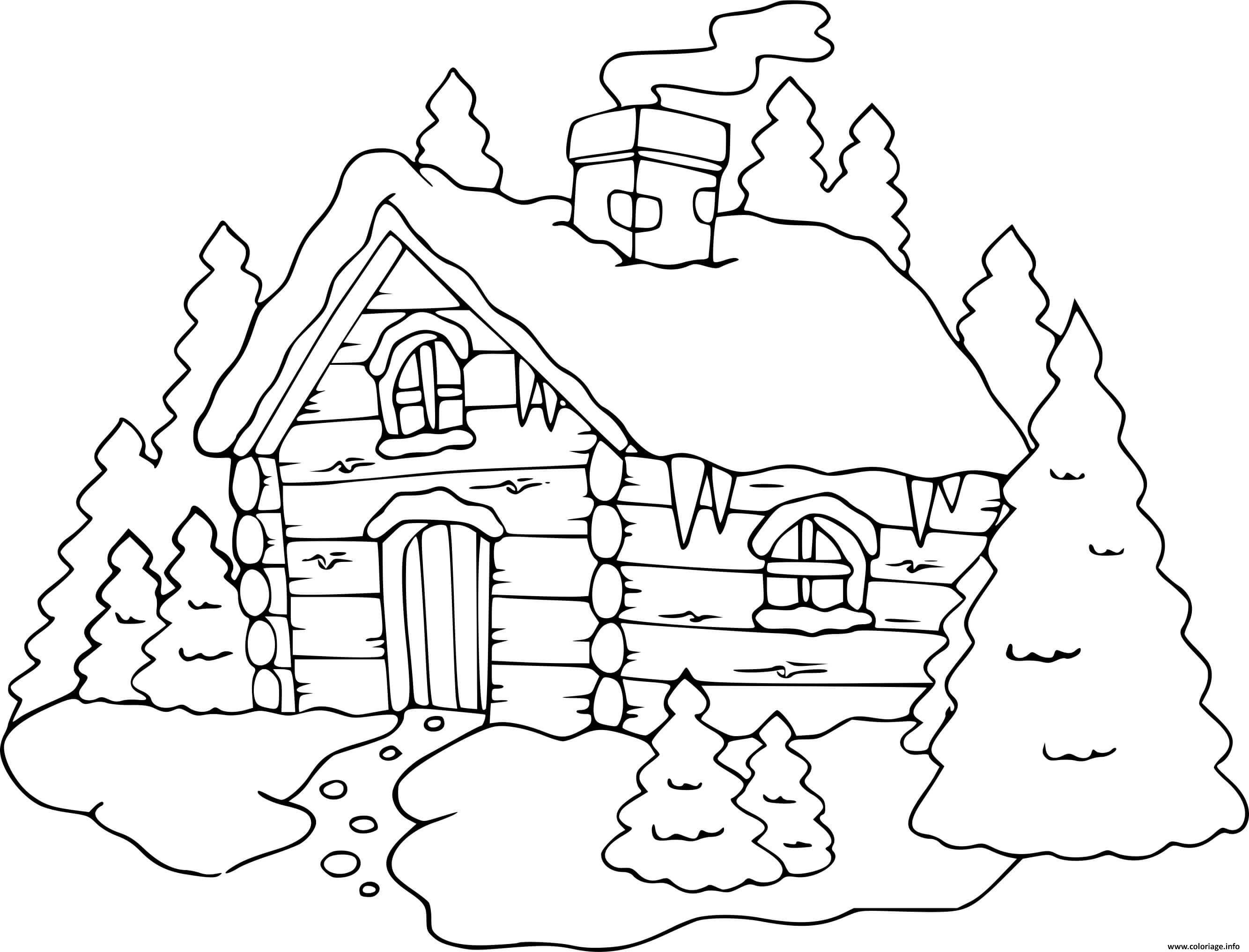 Dessin chalet hiver maison hivernage Coloriage Gratuit à Imprimer