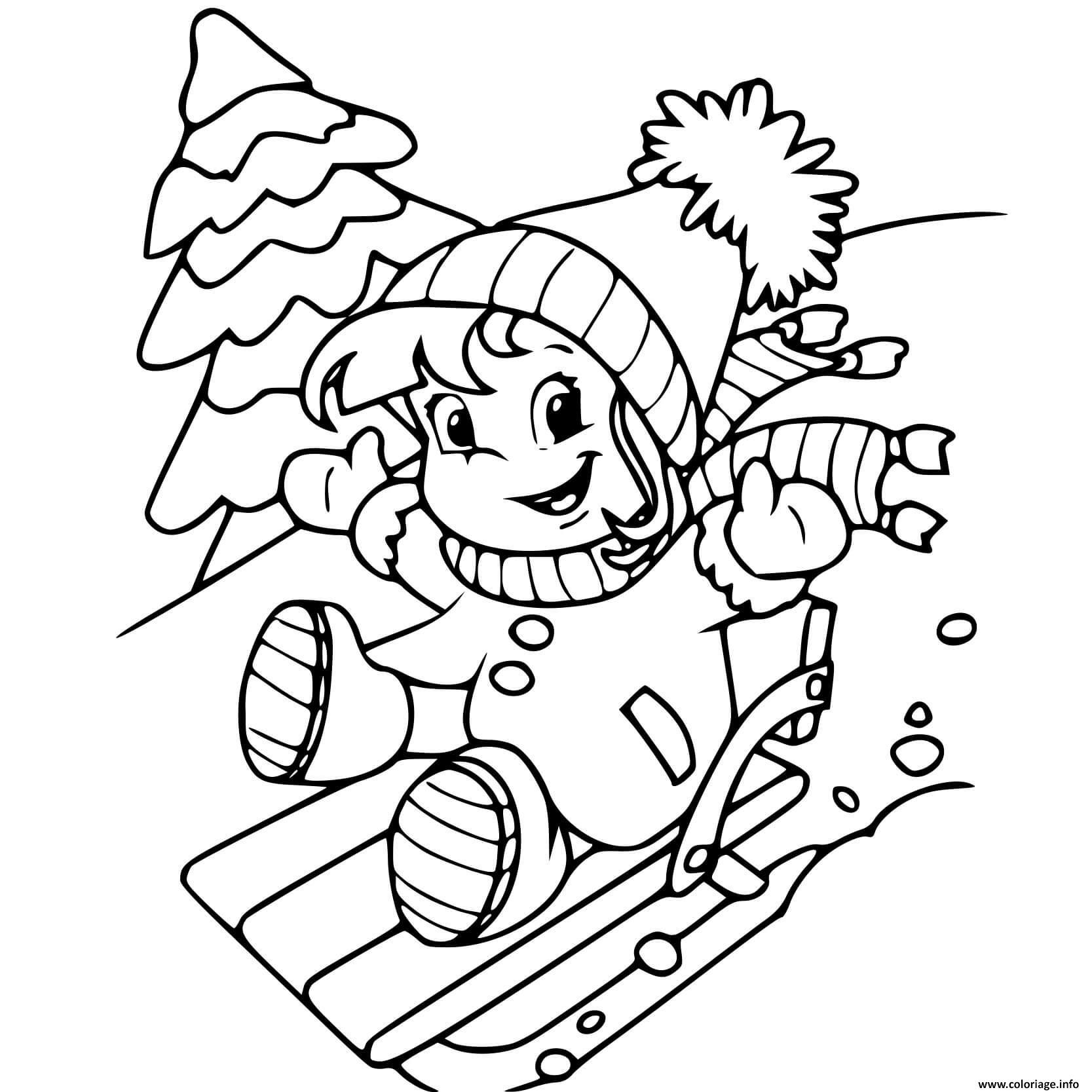 Dessin une petite fille glisse sur une montagne de neige en hiver Coloriage Gratuit à Imprimer