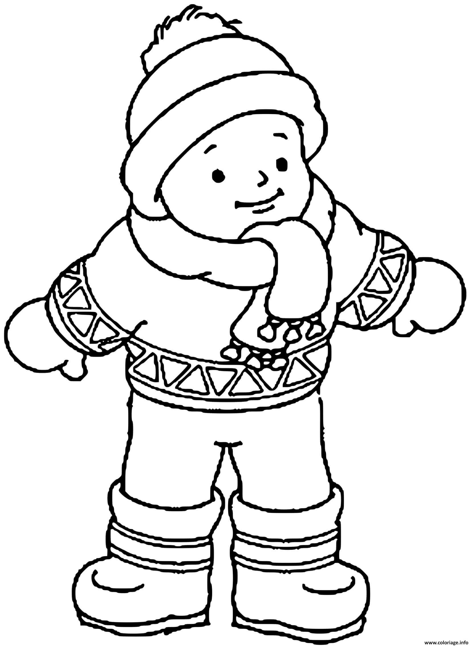Extraordinaire  Mot-Clé Coloriage garcon en habits d hiver   JeColorie.com