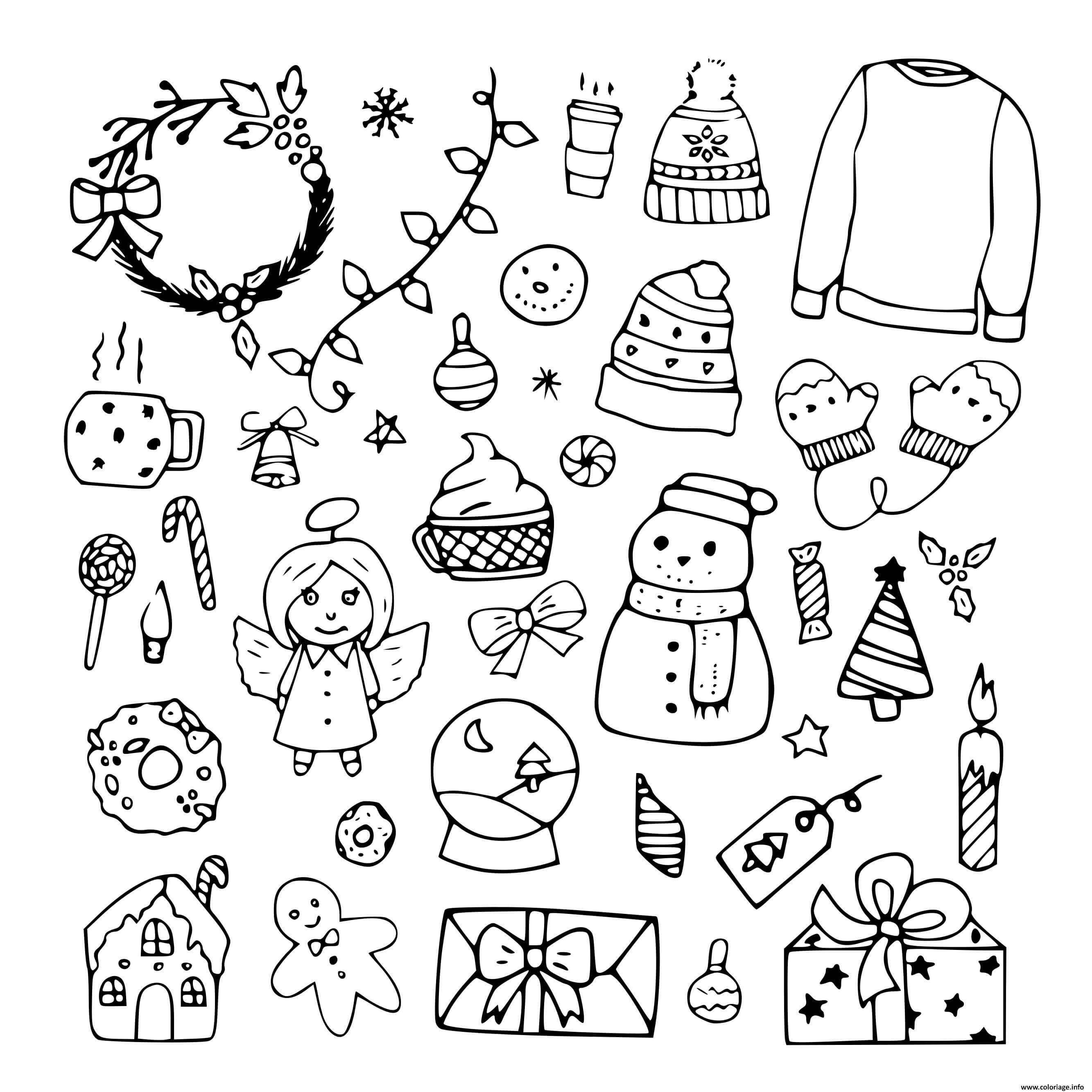 Dessin icones de noel sapin hiver decembre decorations Coloriage Gratuit à Imprimer