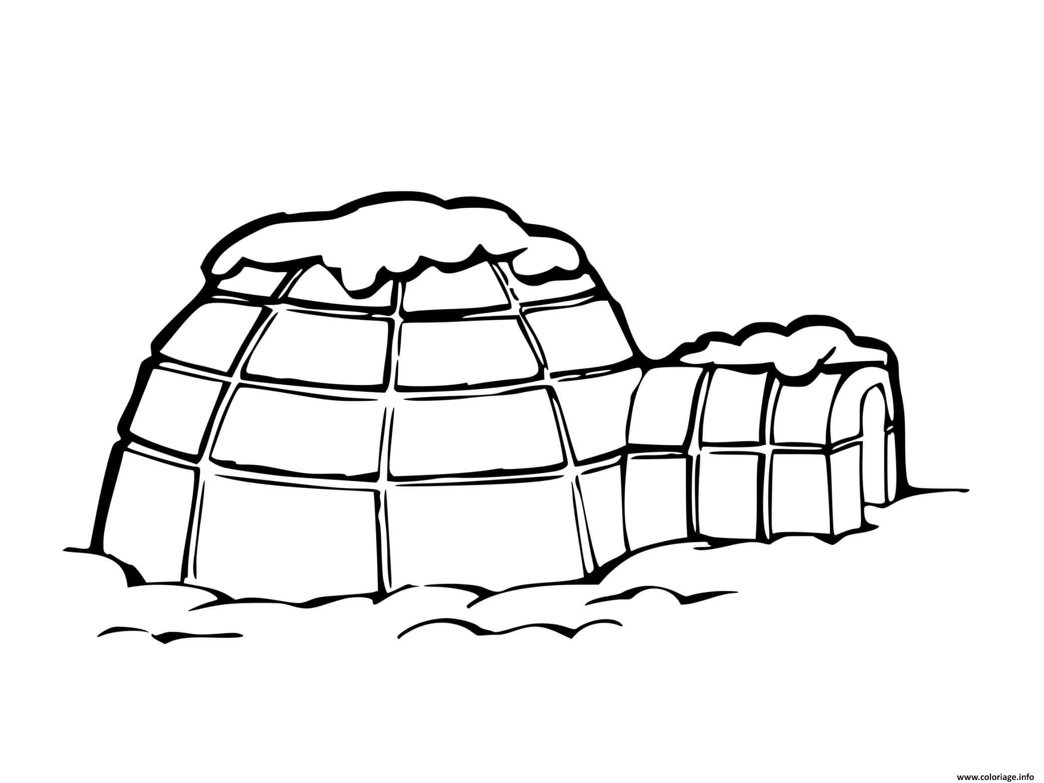 Dessin igloo habitation hivernale au froid Coloriage Gratuit à Imprimer