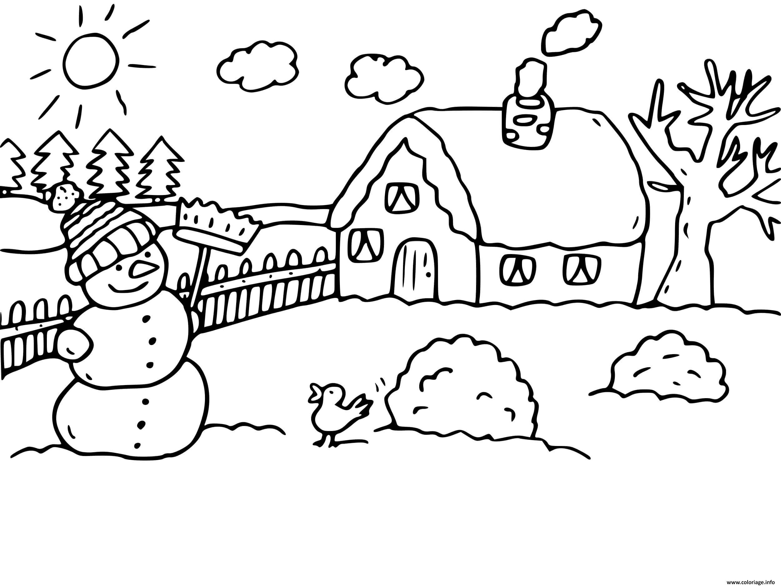 Dessin paysage froid maison hiver Coloriage Gratuit à Imprimer