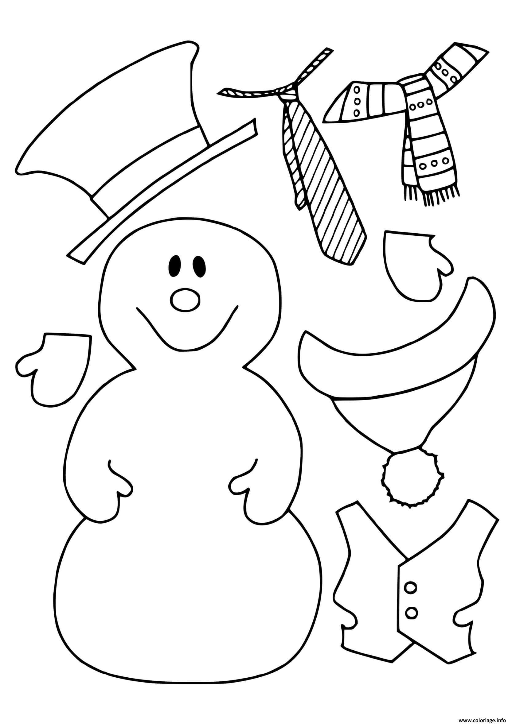 Dessin dessin hiver maternelle bonhomme de neige avec ses habits Coloriage Gratuit à Imprimer