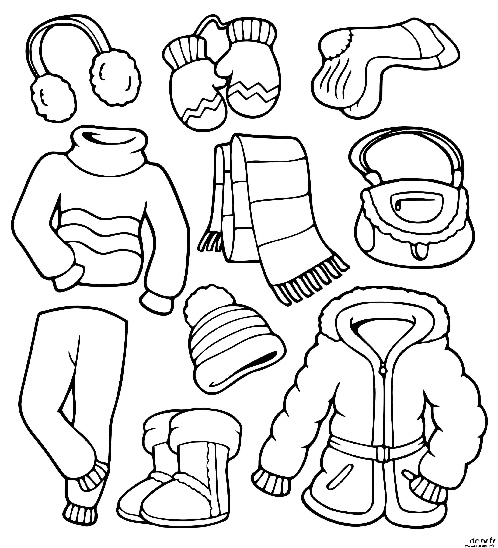 Dessin habits d hiver et de neige Coloriage Gratuit à Imprimer