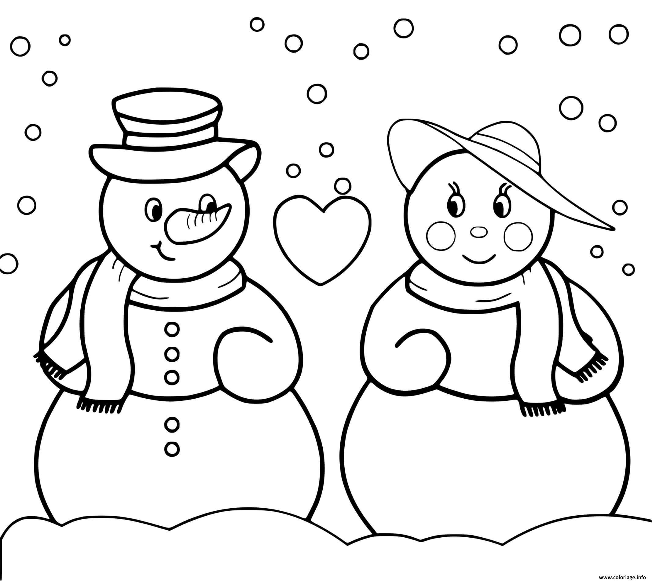 Dessin Deux bonhommes de neige amoureux Coloriage Gratuit à Imprimer