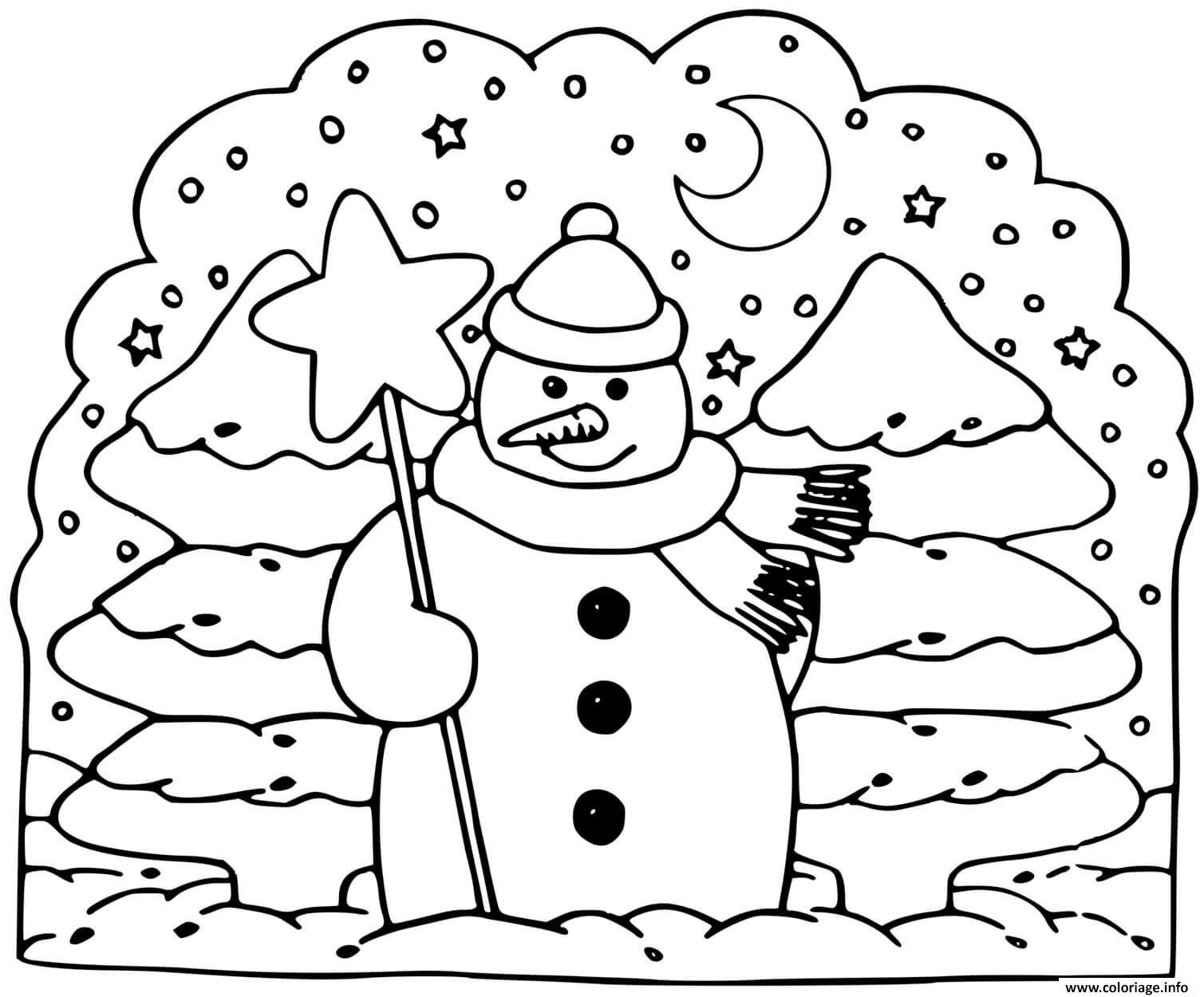 Dessin bonhomme de neige sapin hiver Coloriage Gratuit à Imprimer