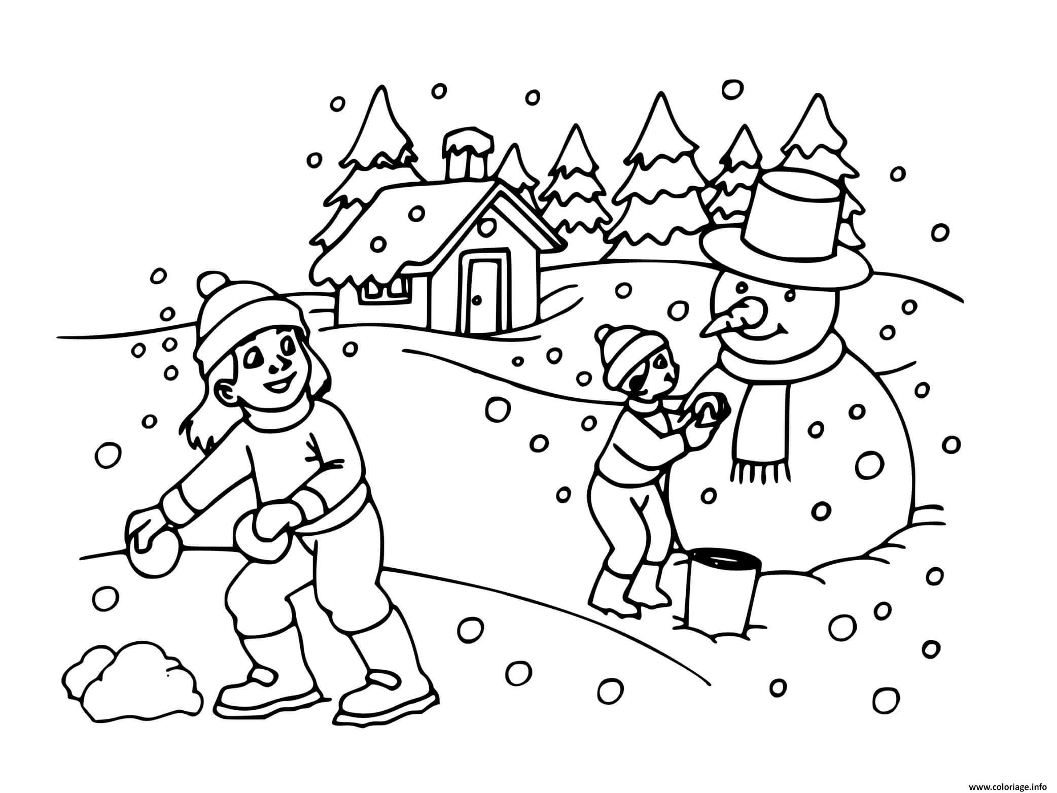 Dessin enfants maison sous la neige en hiver Coloriage Gratuit à Imprimer