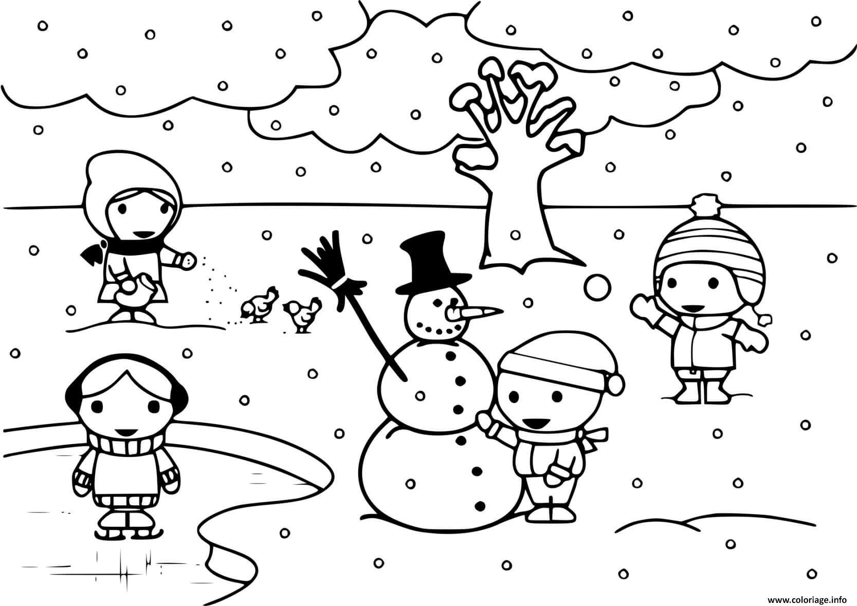 Dessin enfants jouent avec la neige en hiver Coloriage Gratuit à Imprimer