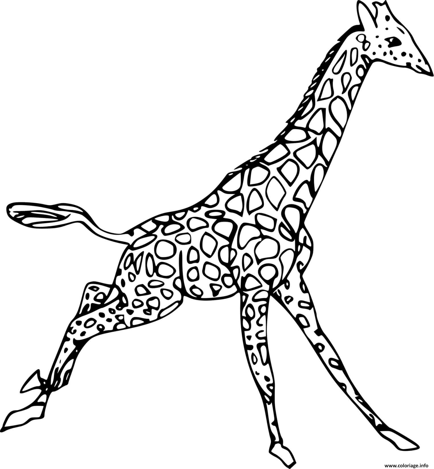Coloriage Girafe Qui Court Dessin Girafe à imprimer