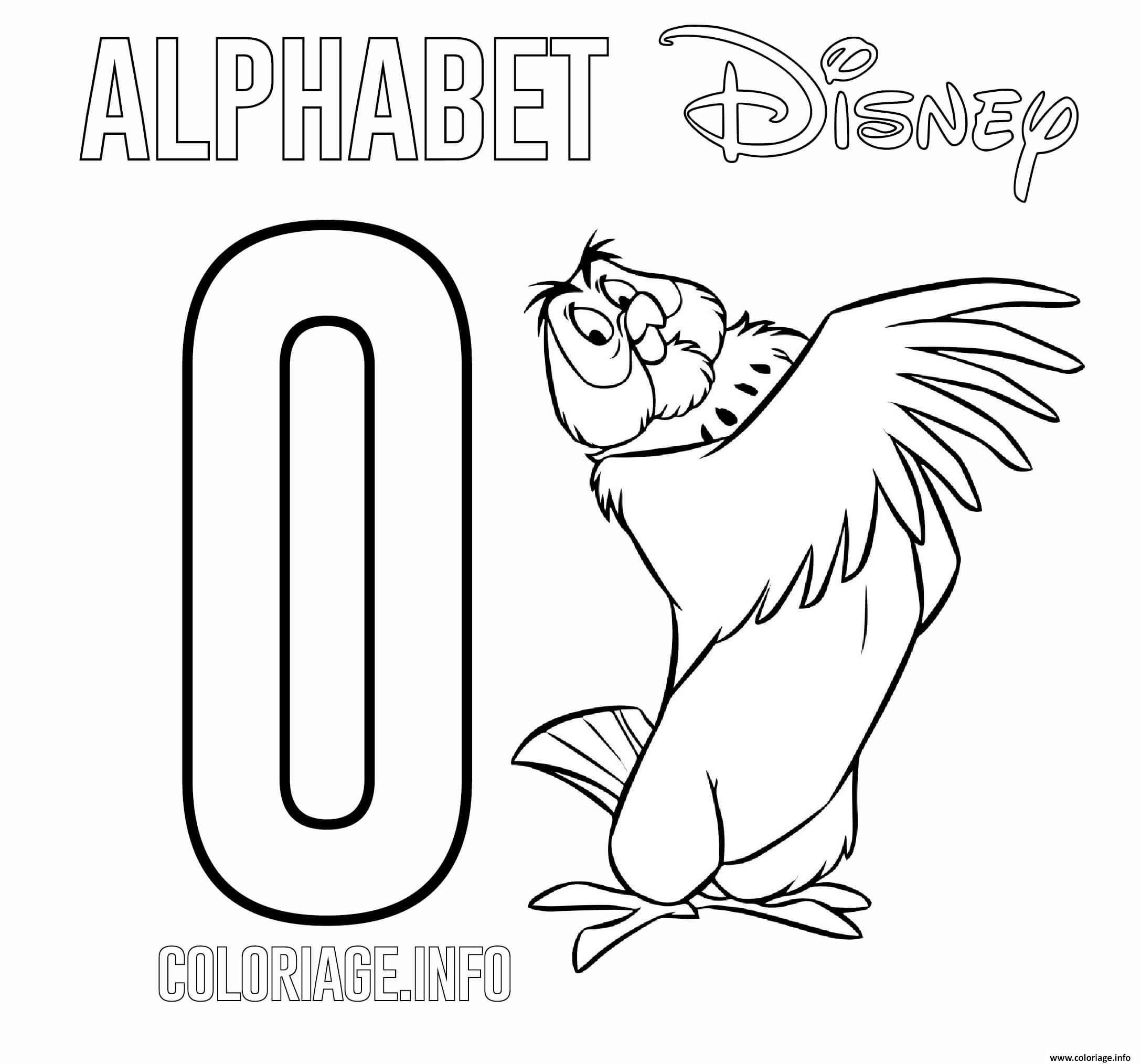 Dessin Lettre O pour Owl Disney Coloriage Gratuit à Imprimer