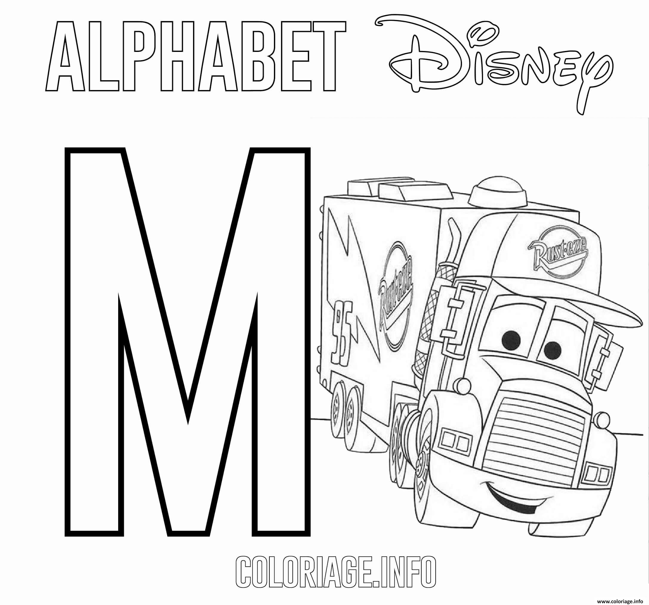 Dessin Lettre M pour Mack de Cars Disney Coloriage Gratuit à Imprimer