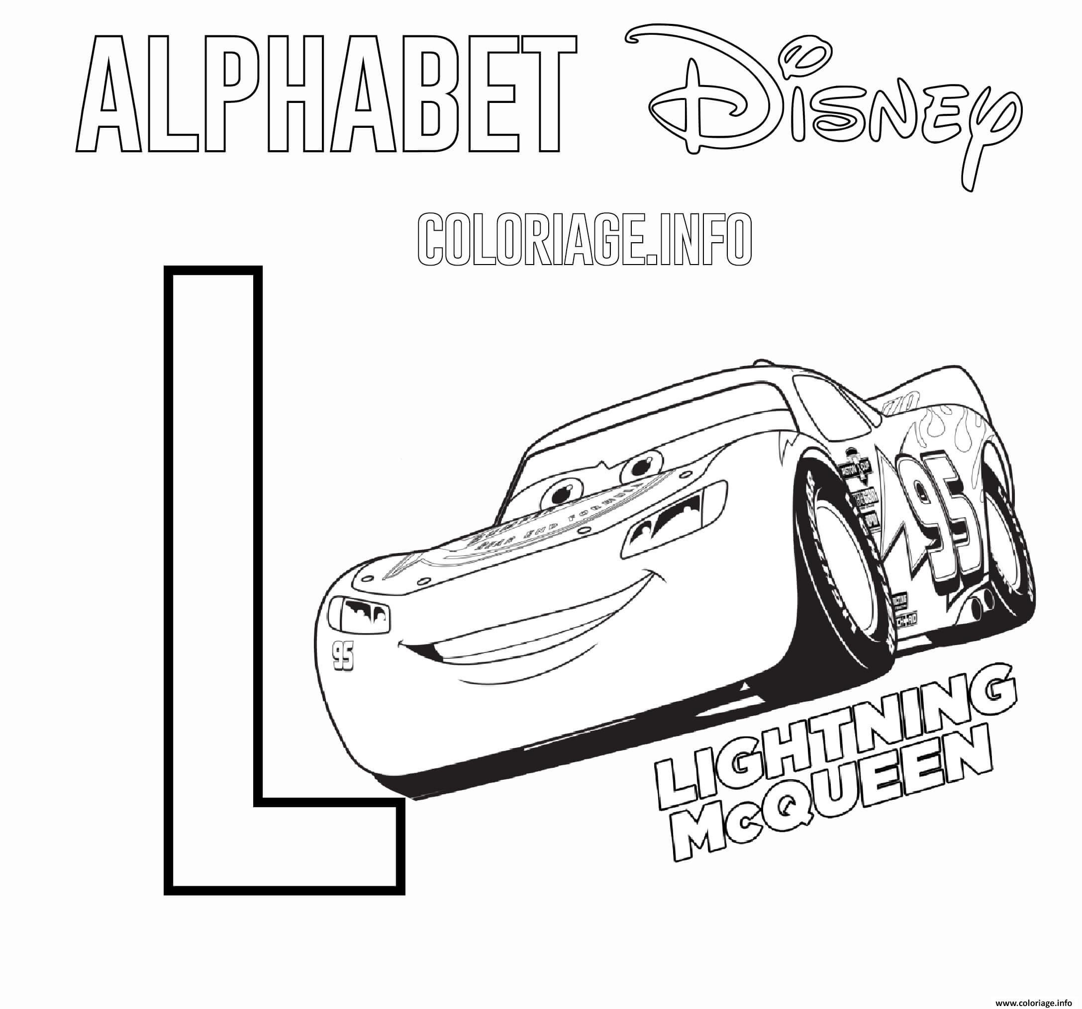 Dessin Lettre L pour Lightning McQueen de Cars Disney Coloriage Gratuit à Imprimer