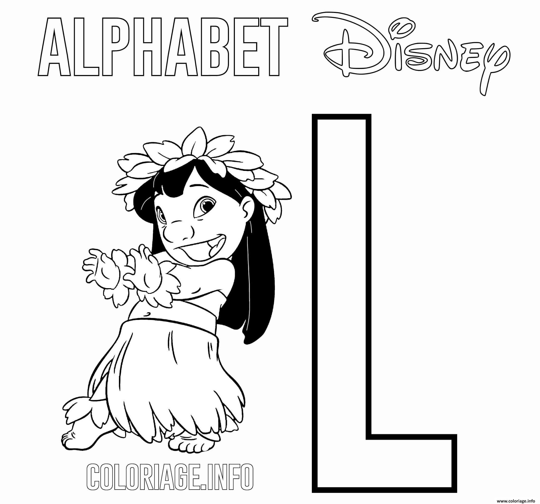 Dessin Lettre L pour Lilo de Lilo and Stitch Disney Coloriage Gratuit à Imprimer