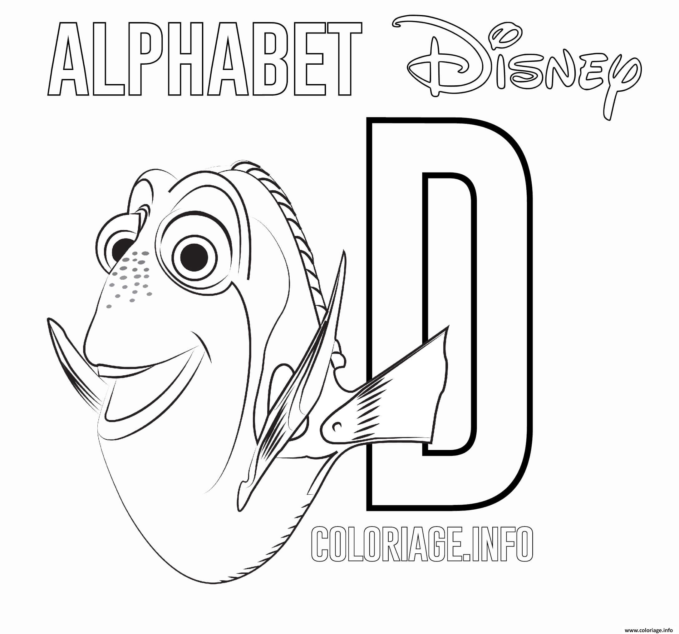 Dessin Lettre D pour Dory Coloriage Gratuit à Imprimer