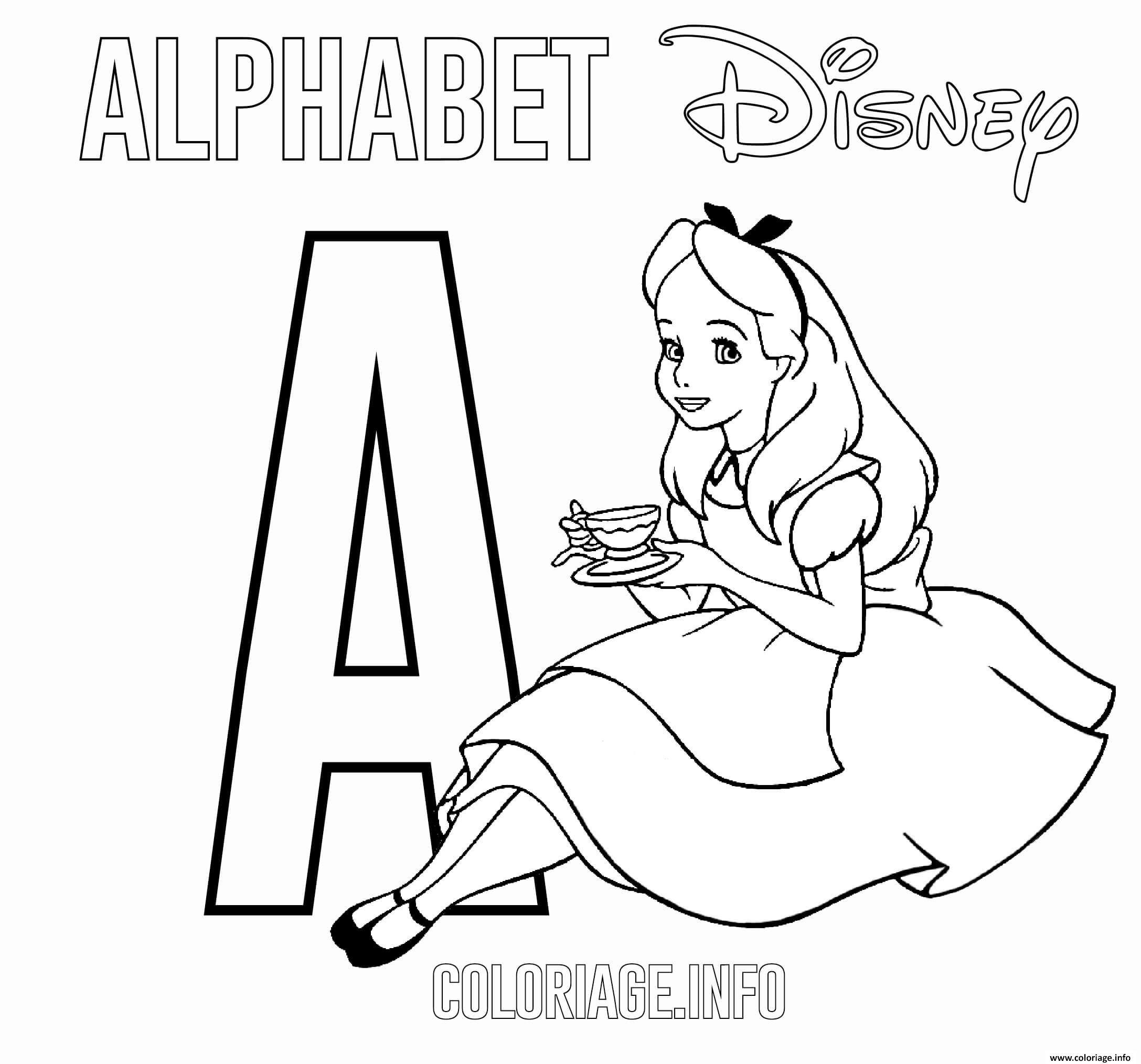 Coloriage Lettre A Pour Alice Dessin Alphabet Disney à ...