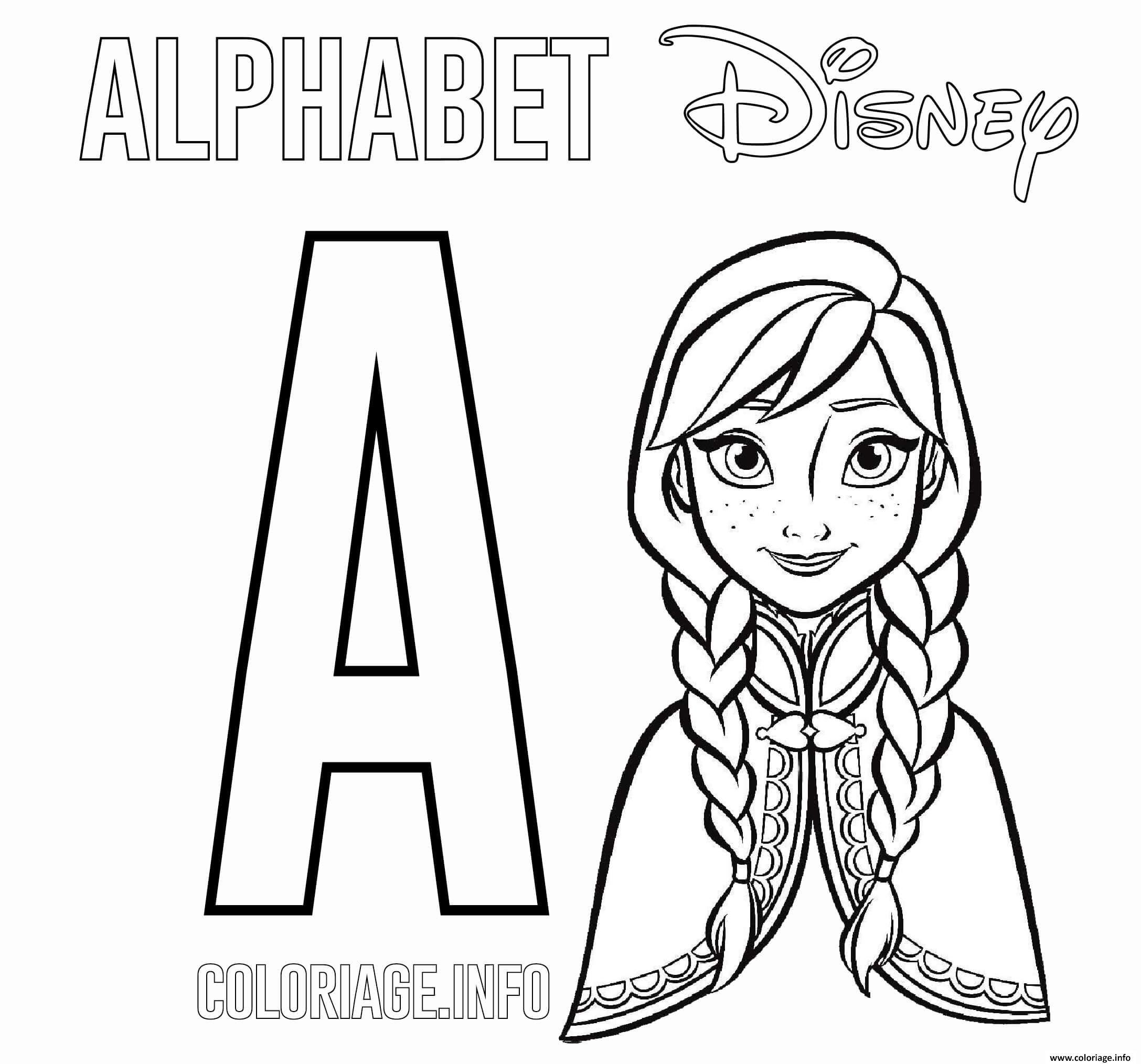 Coloriage Lettre A Pour Anna De Frozen Dessin Alphabet Disney à ...