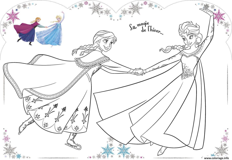 Dessin La magie de lhiver Elsa et Anna Coloriage Gratuit à Imprimer