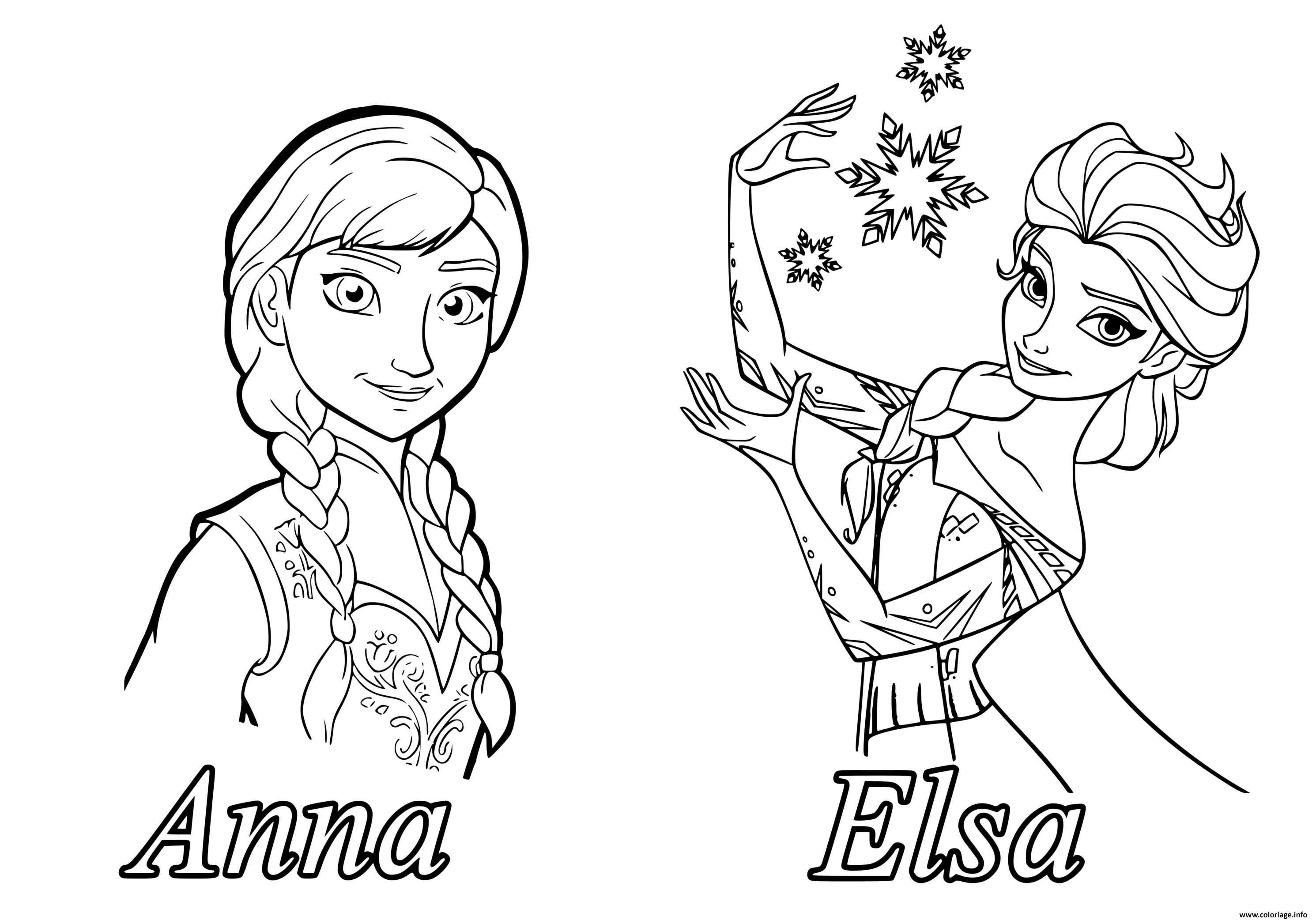 Coloriage Reine Des Neiges Elsa Anna Jecolorie Com