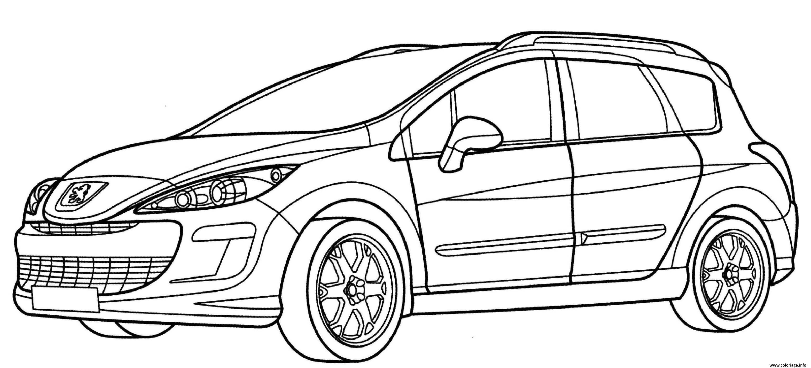 Coloriage Peugeot 308 Sw Dessin Voiture à imprimer