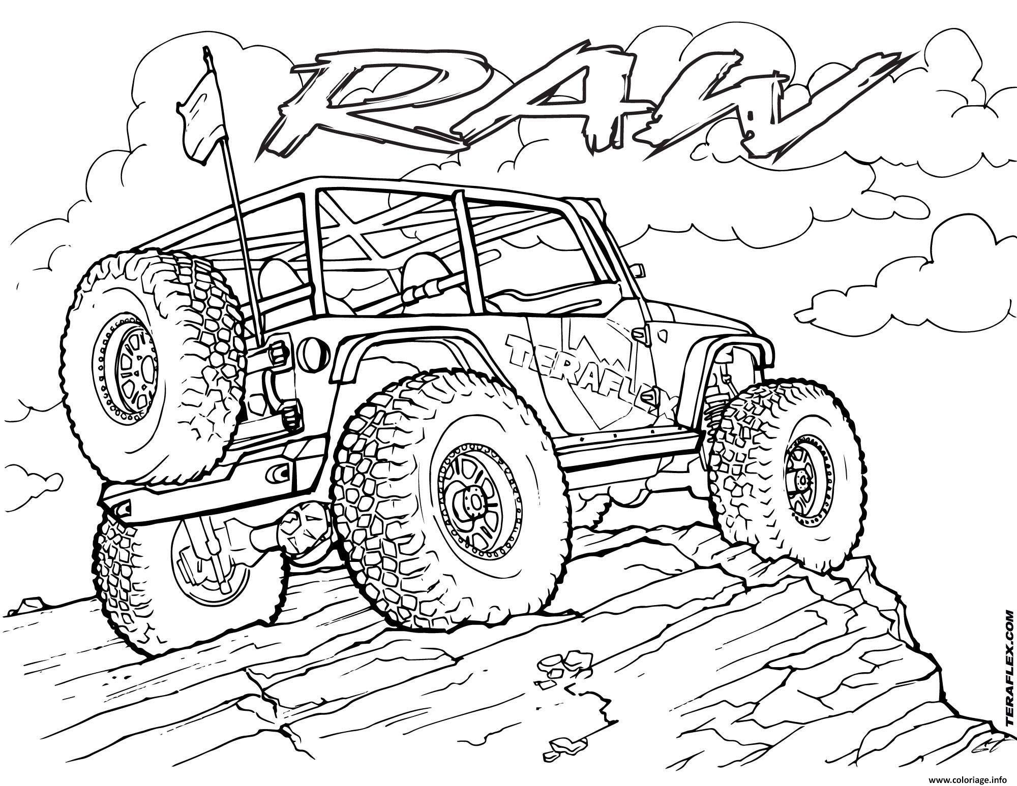 Coloriage 4x4 Jeep Teraflex - JeColorie.com