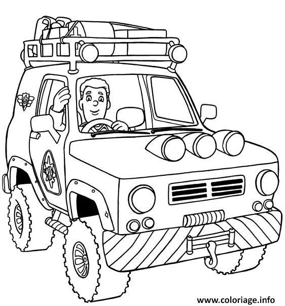 Coloriage voiture 4x4 pompier - JeColorie.com